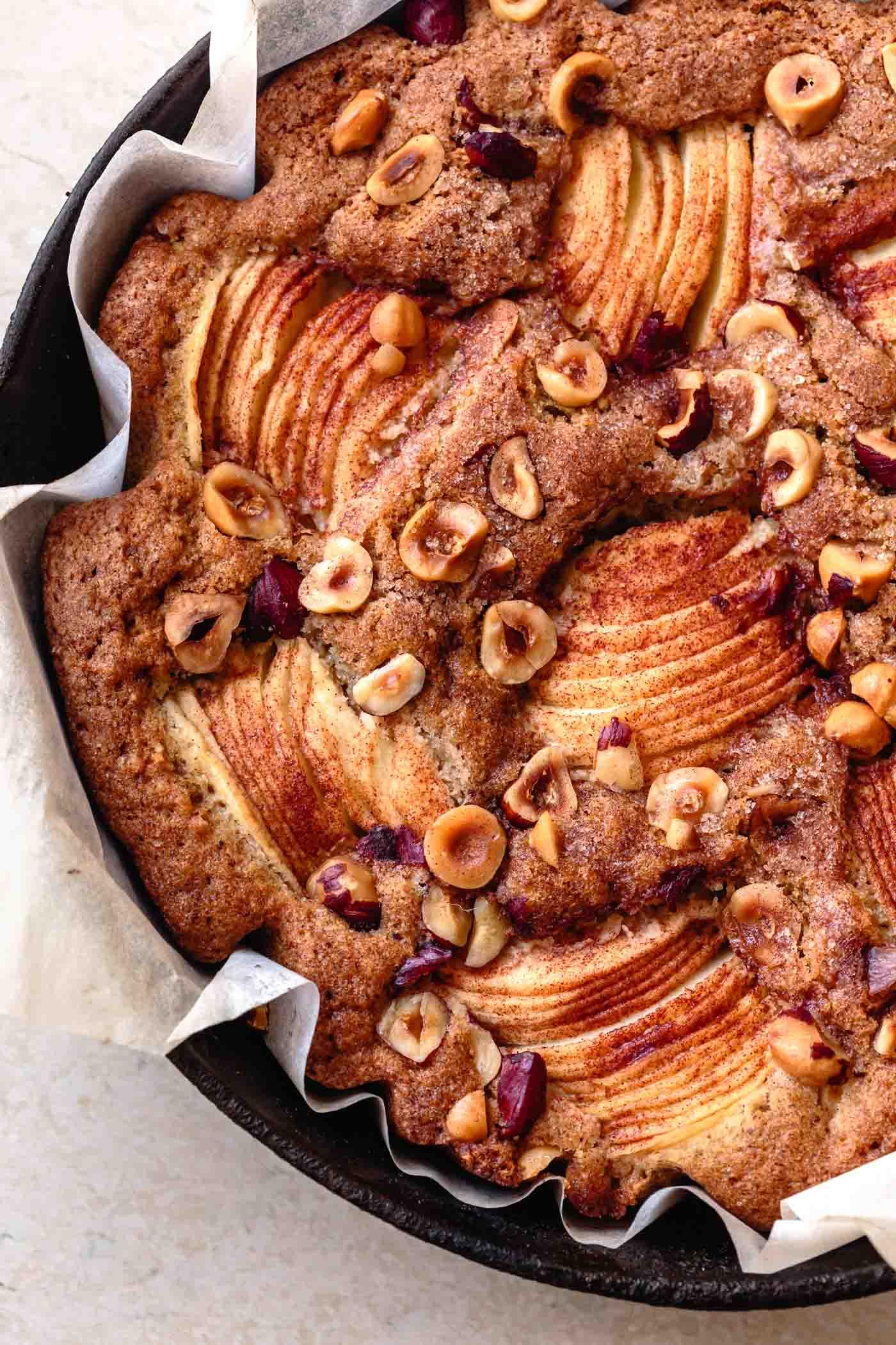 close-up of gf apple cake recipe