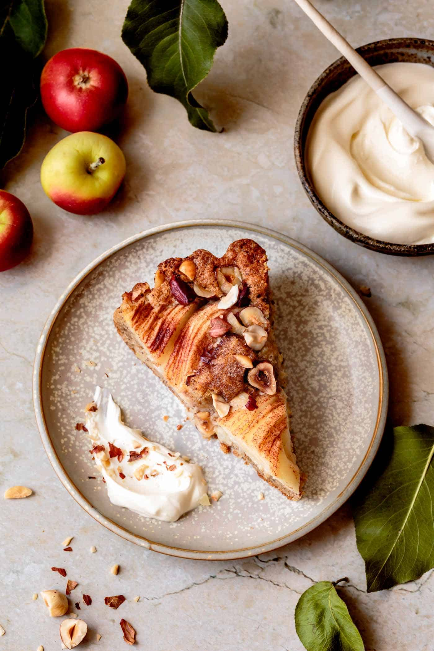 Slice of gluten-free apple cake with almond flour or hazelnut flour
