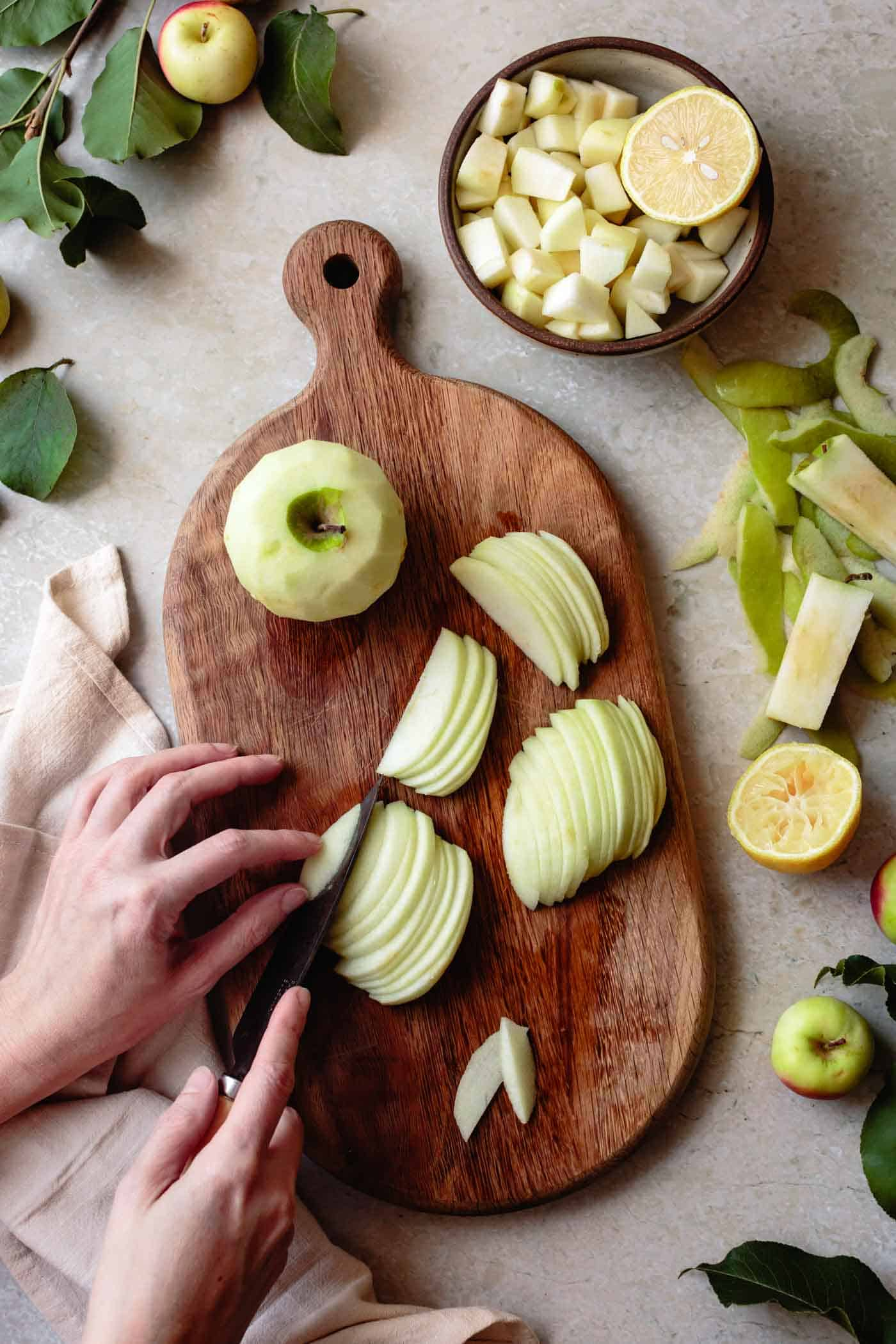 Cutting apples for easy gluten-free apple cake