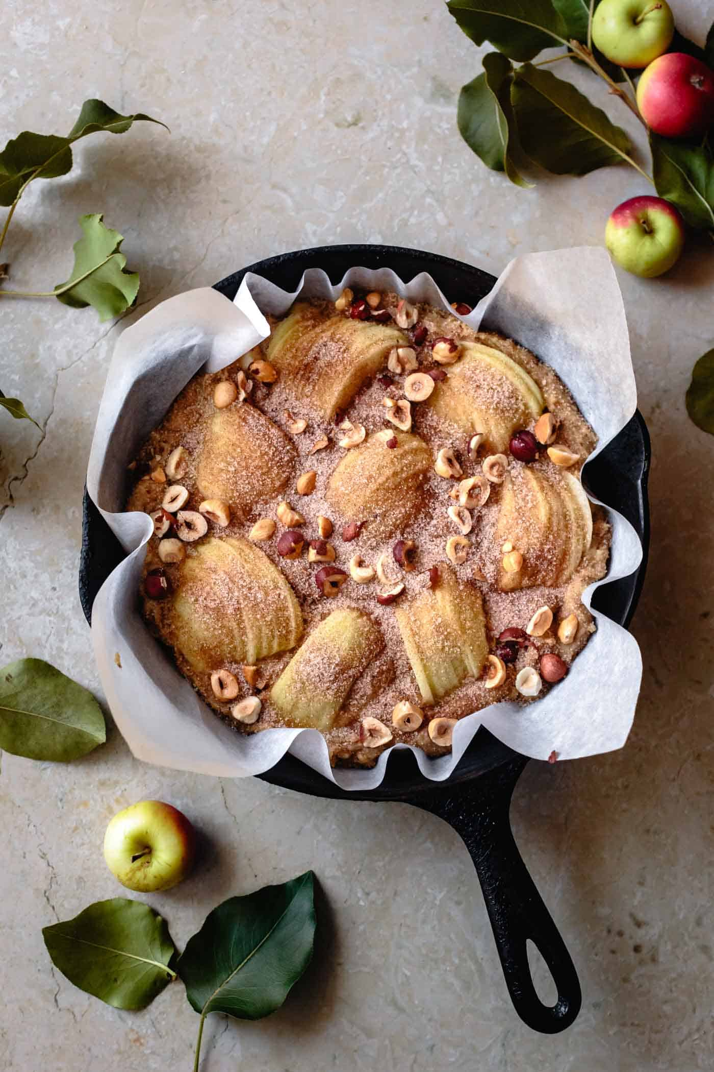 gluten-free fresh apple cake, before baking