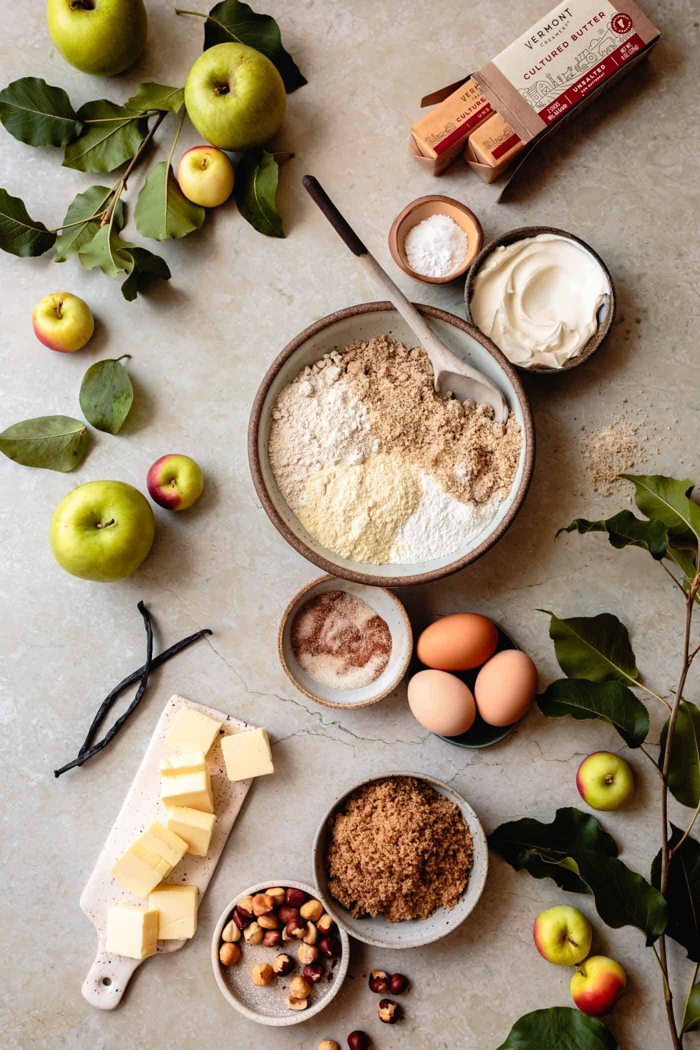 Ingredients for gluten-free fresh apple cake recipe