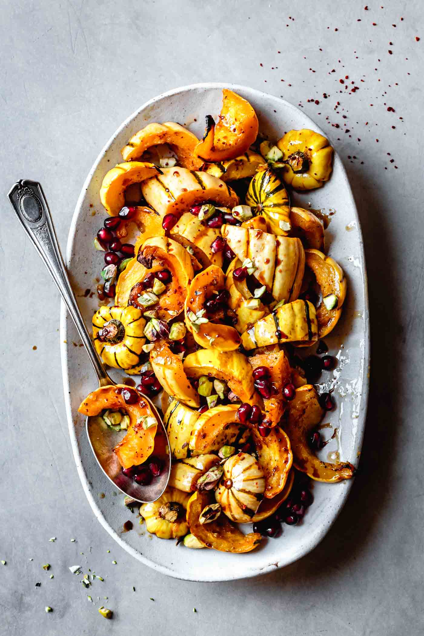 Finished roasted delicata squash recipe on a platter