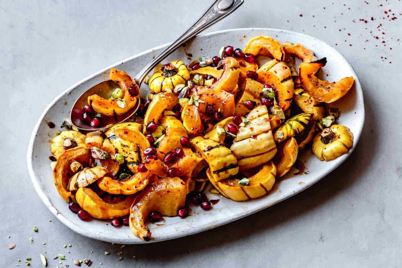 Roasted Delicata Squash Recipe on a platter