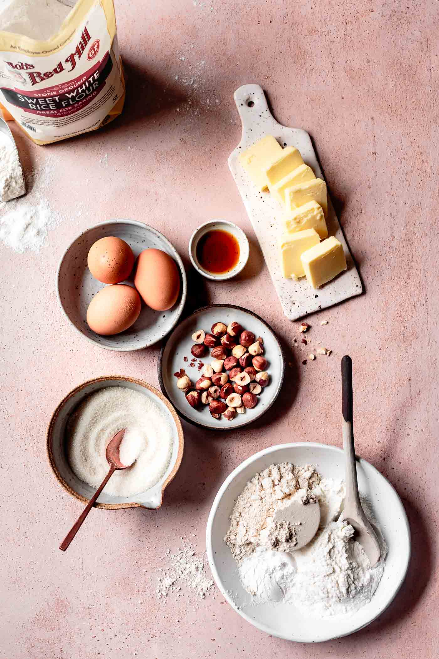 Ingredients for homemade gluten-free almond biscotti recipe