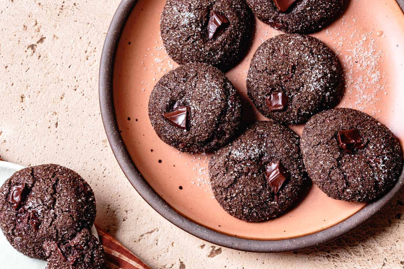 Wide shot of Gluten-Free Chocolate Ginger Cookies on a plate