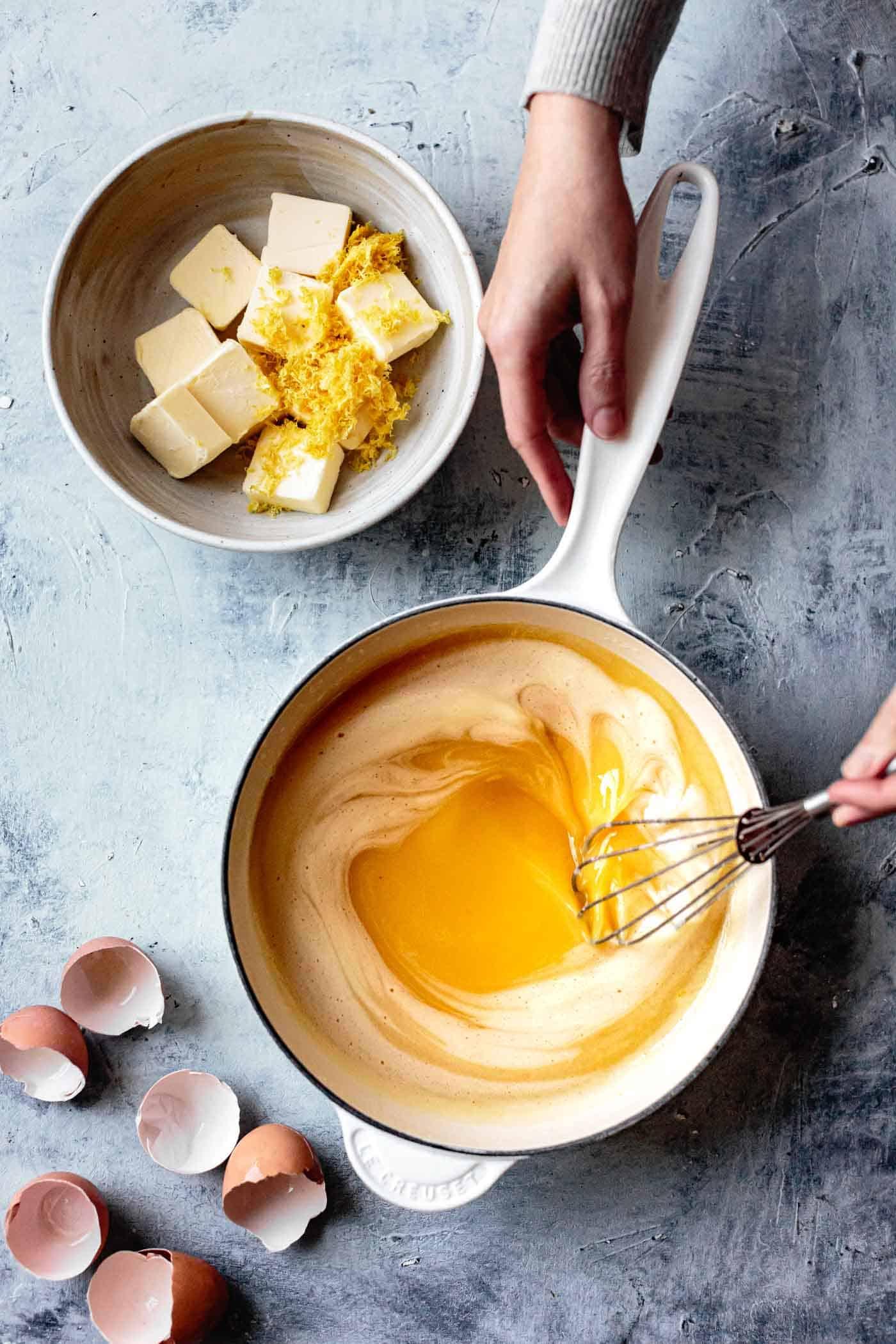Making lemon curd for gluten free lemon bars almond flour crust
