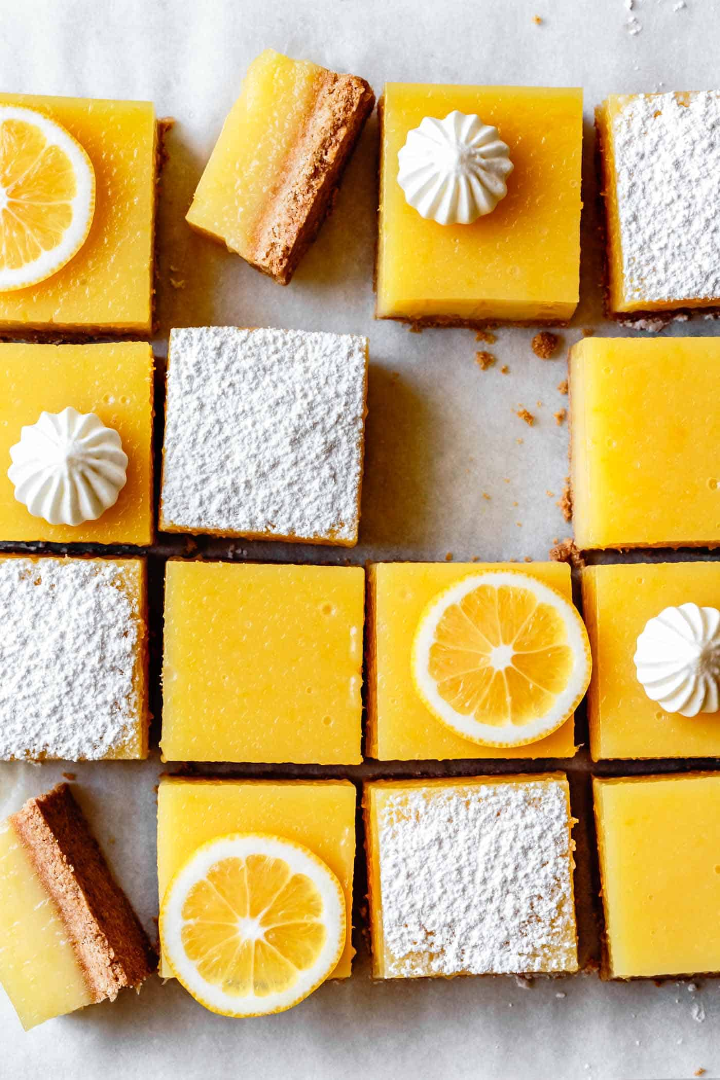 Gluten-free lemon squares or lemon bars, decorated for serving (close-up)