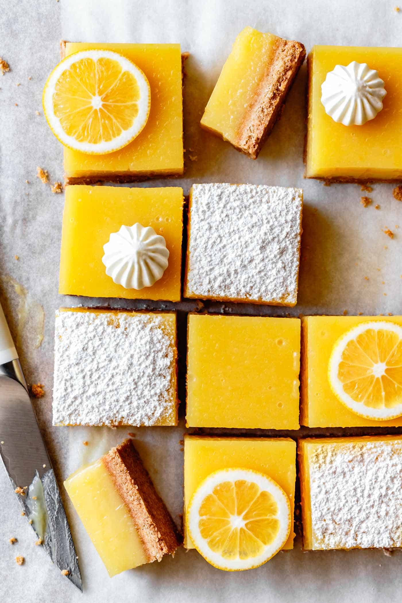 Gluten-Free Lemon Bars Recipe on a cutting board