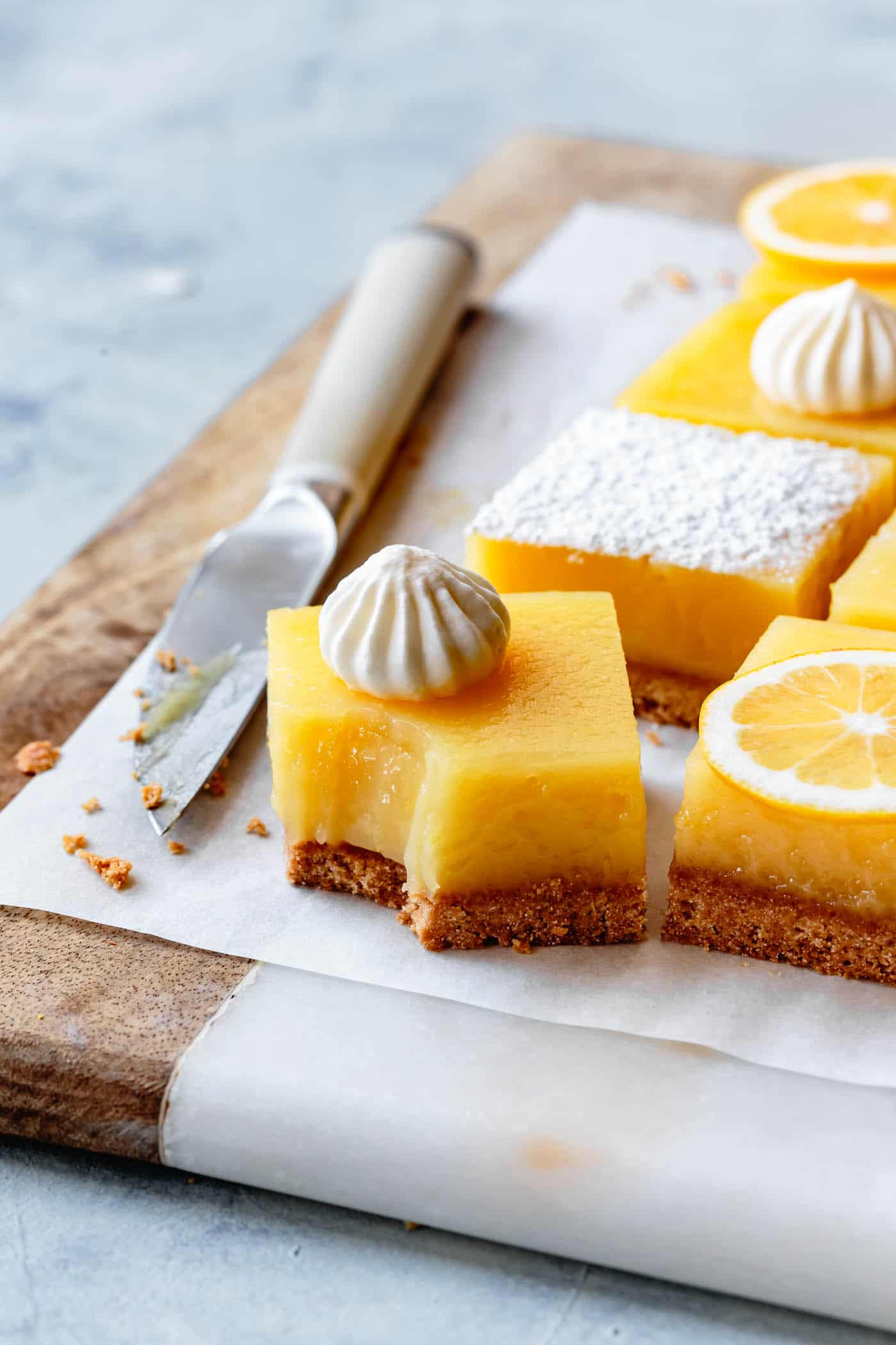 Gluten-free lemon bars recipe with a bite taken out