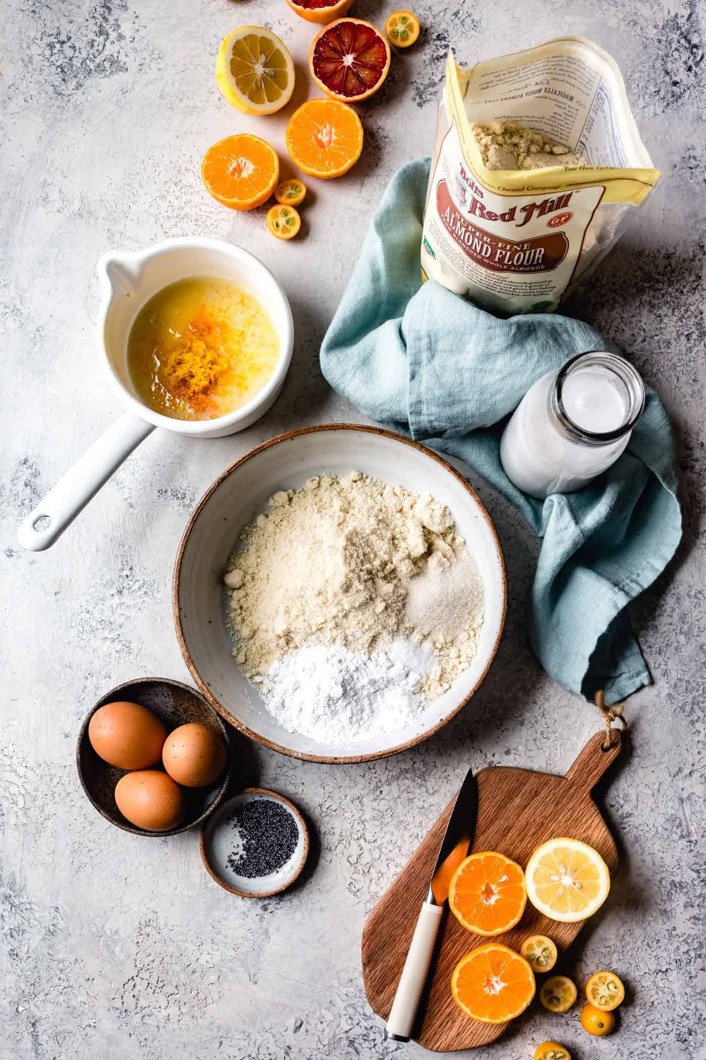 Ingredients for easy almond flour pancake recipe