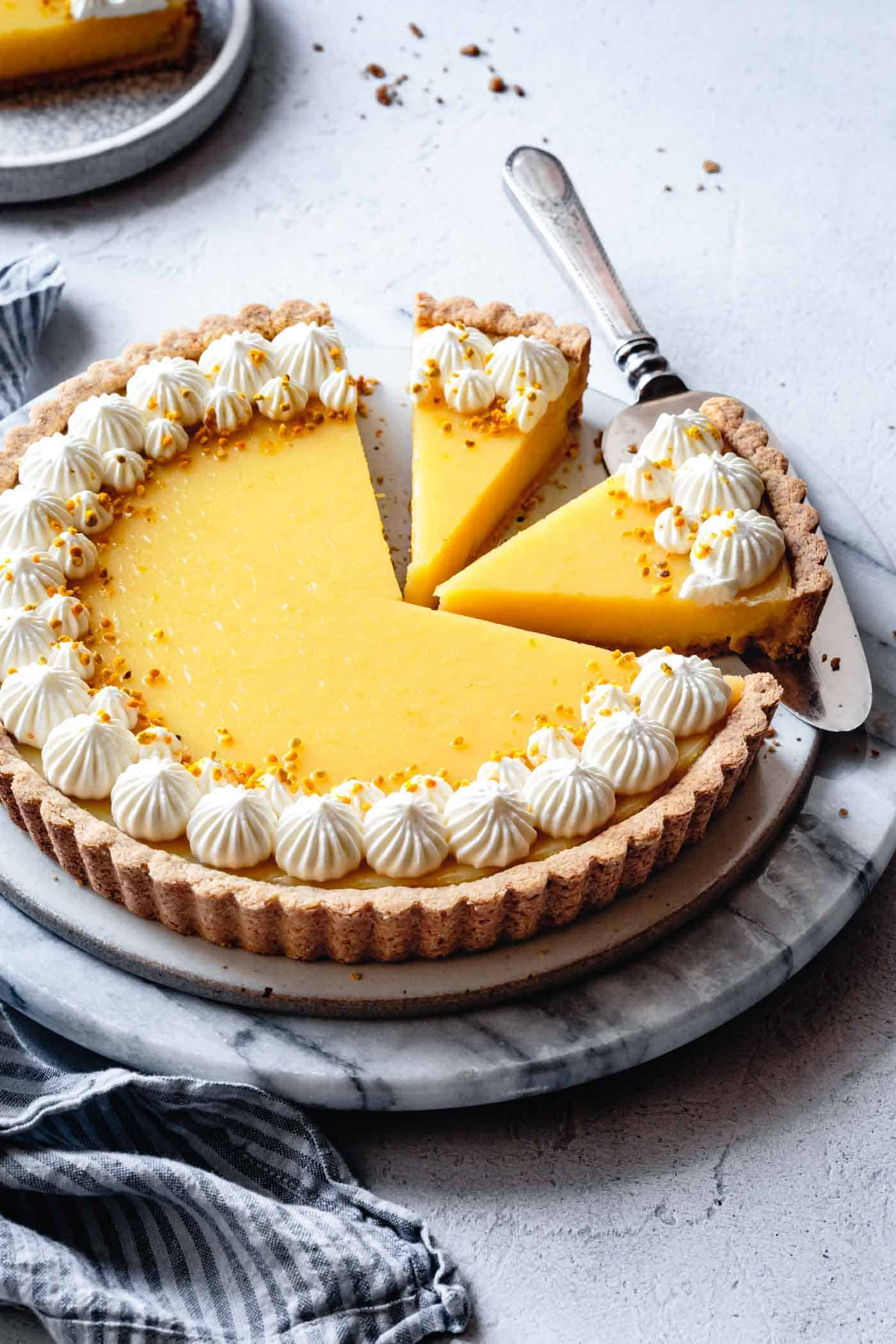 lemon tart in a gluten-free tart crust