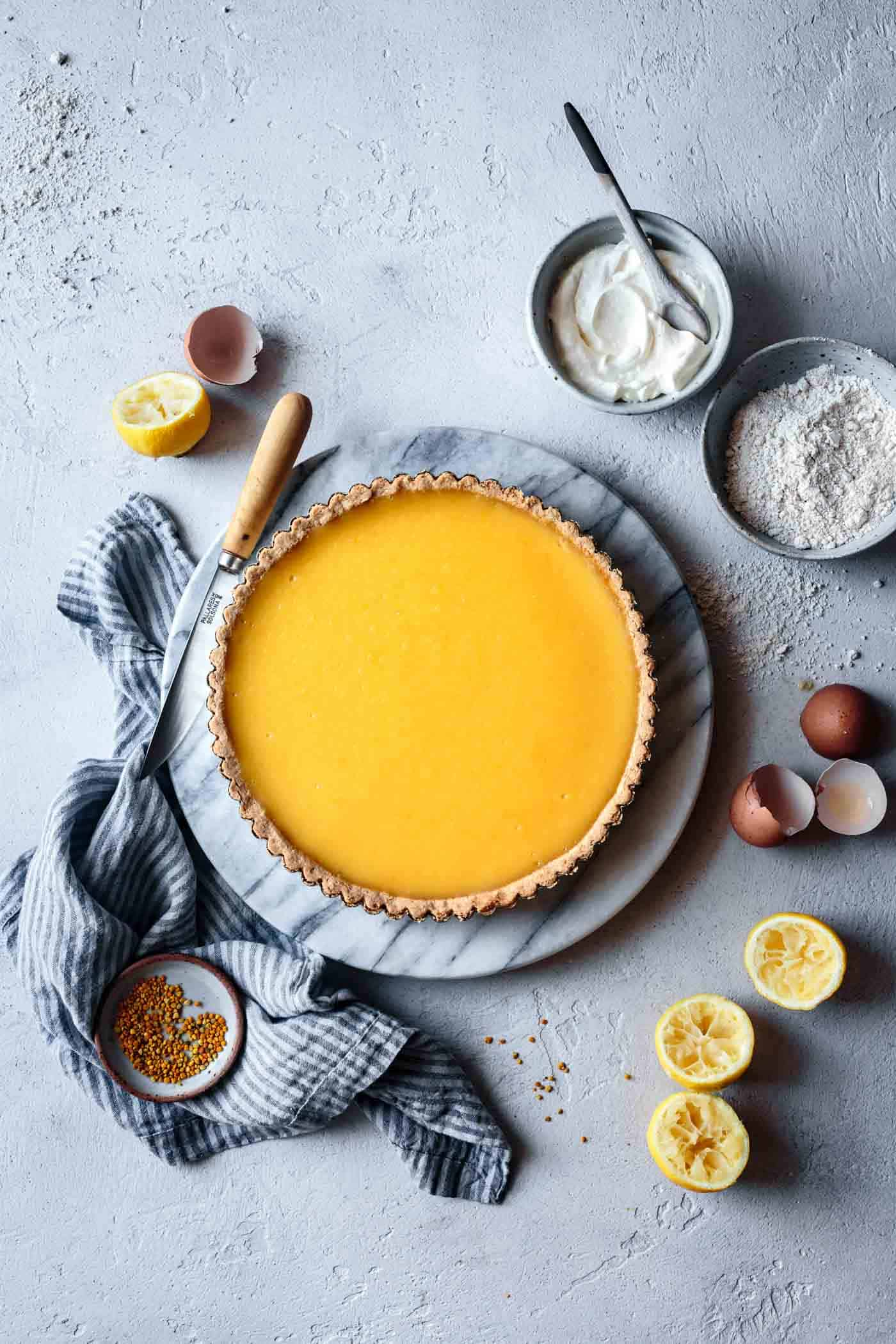 french lemon tart, baked and ready to be topped