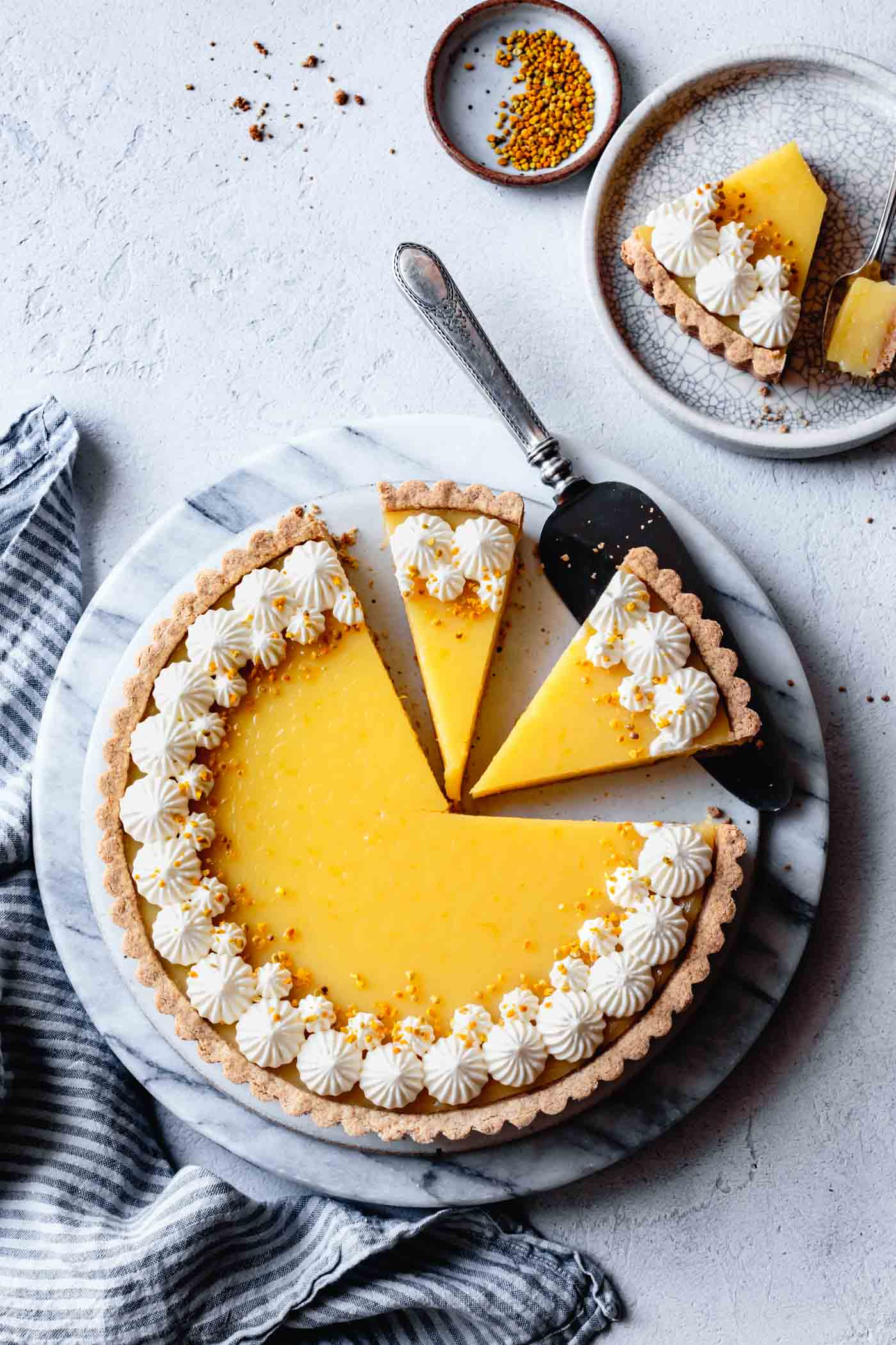 gluten-free lemon curd tart on a platter