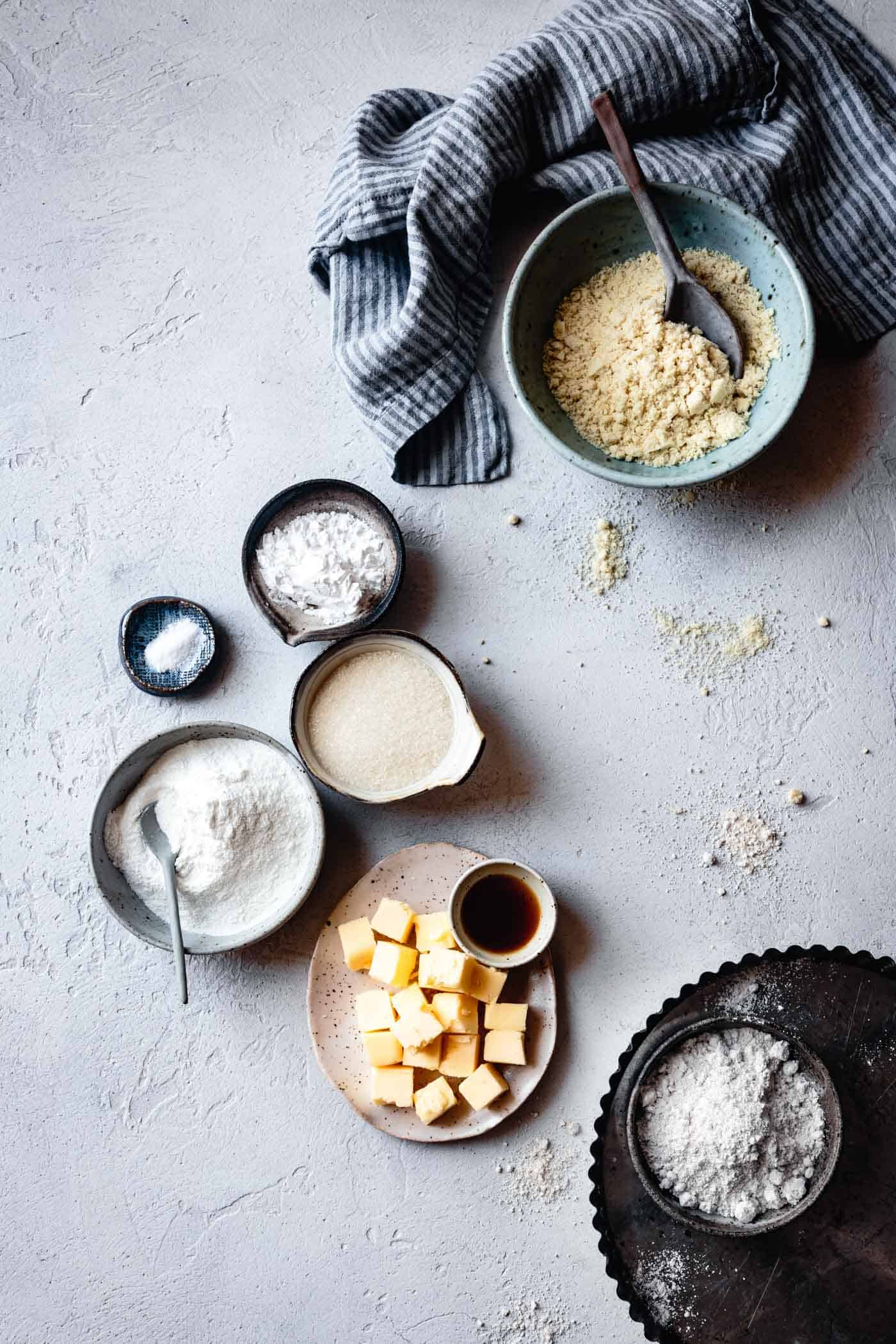 ingredients for easy gluten-free tart crust recipe
