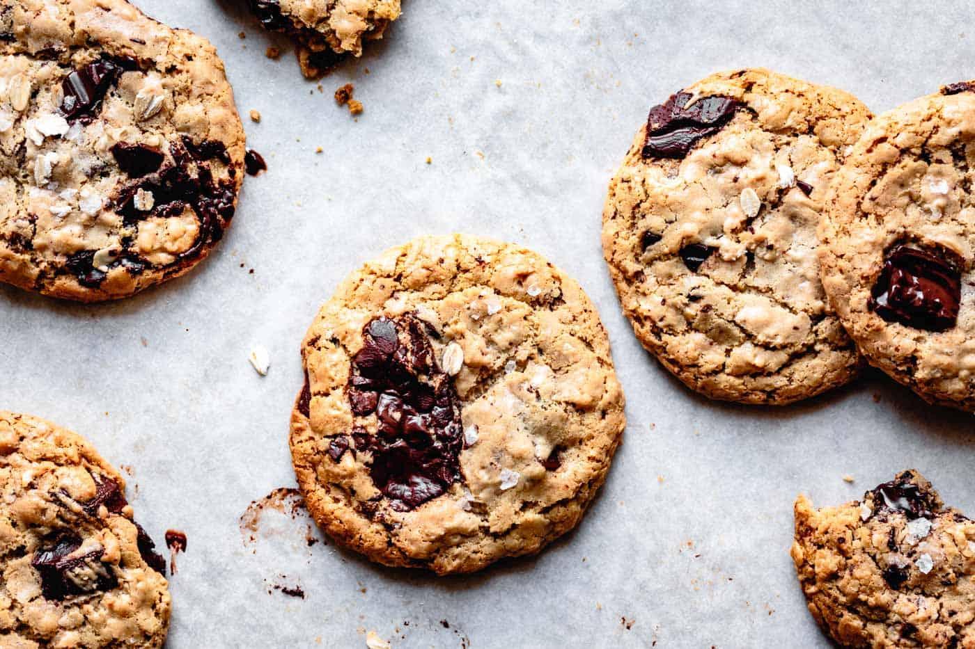 vegan chocolate chip cookies on a baking sheet