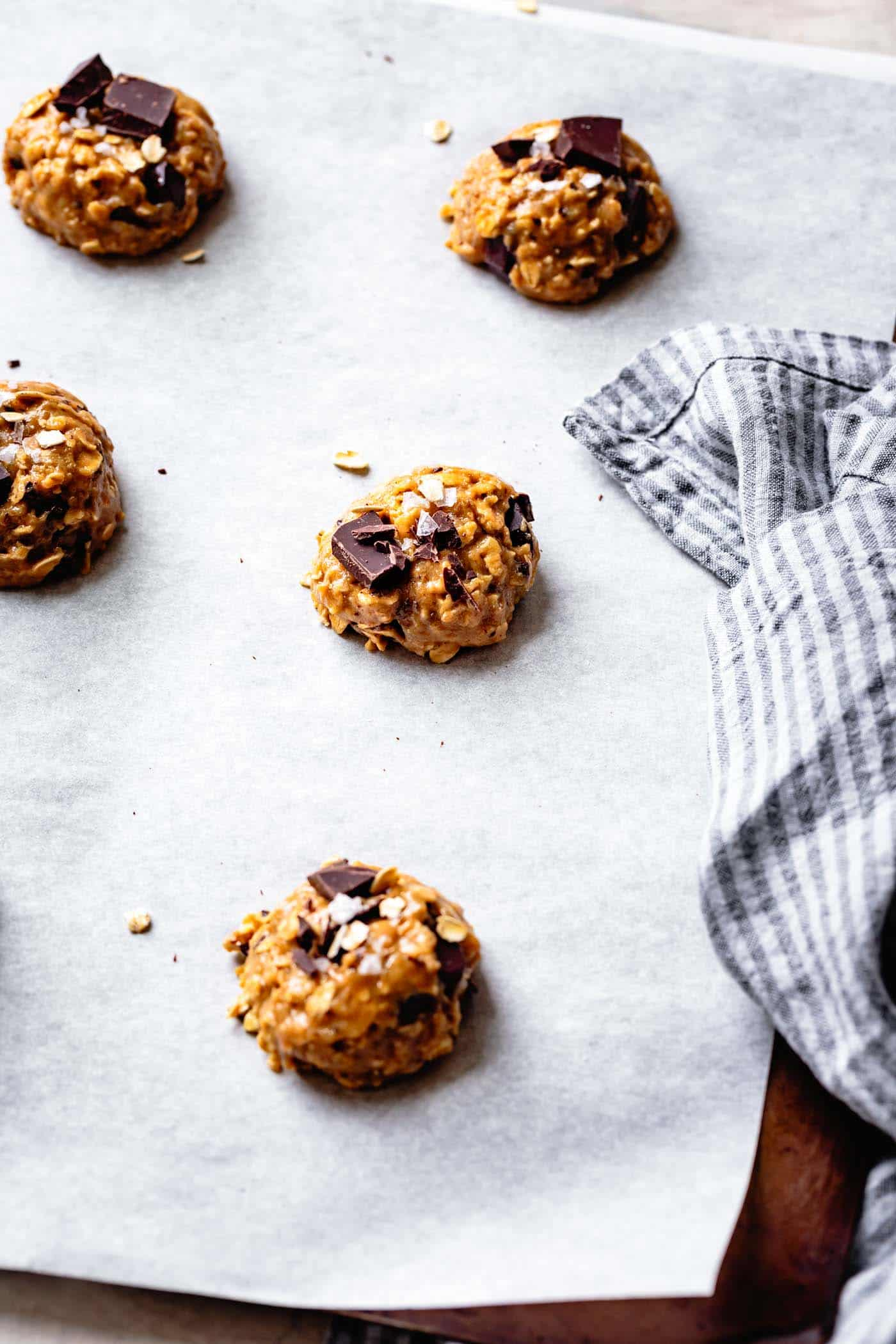 Soft scooped vegan tahini chocolate chip cookies for baking now