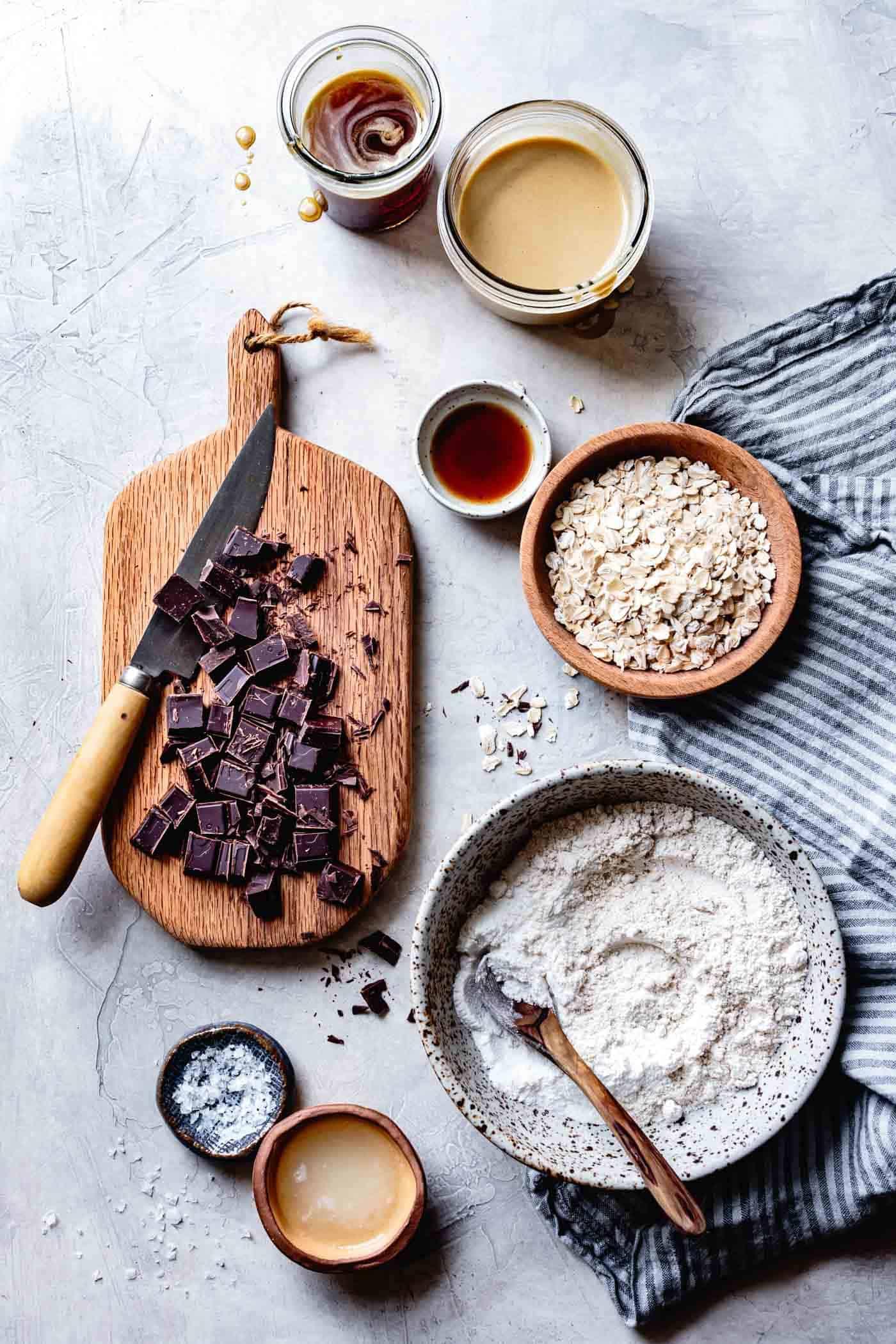 Ingredients for healthy vegan gluten-free oatmeal chocolate chip cookies
