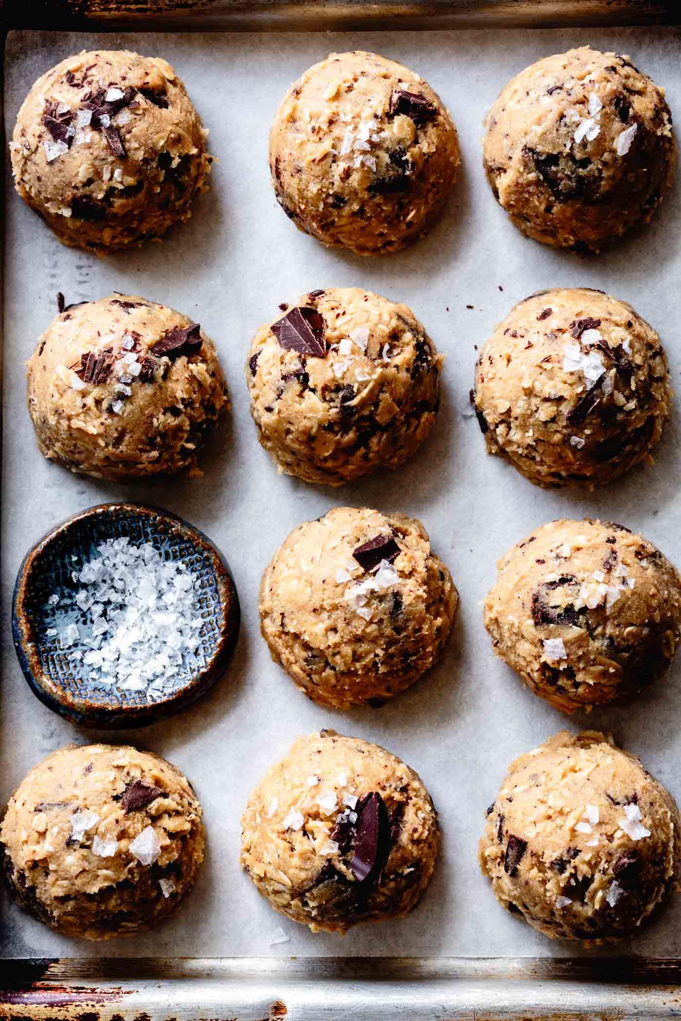 Scooped tahini cookies vegan to bake later