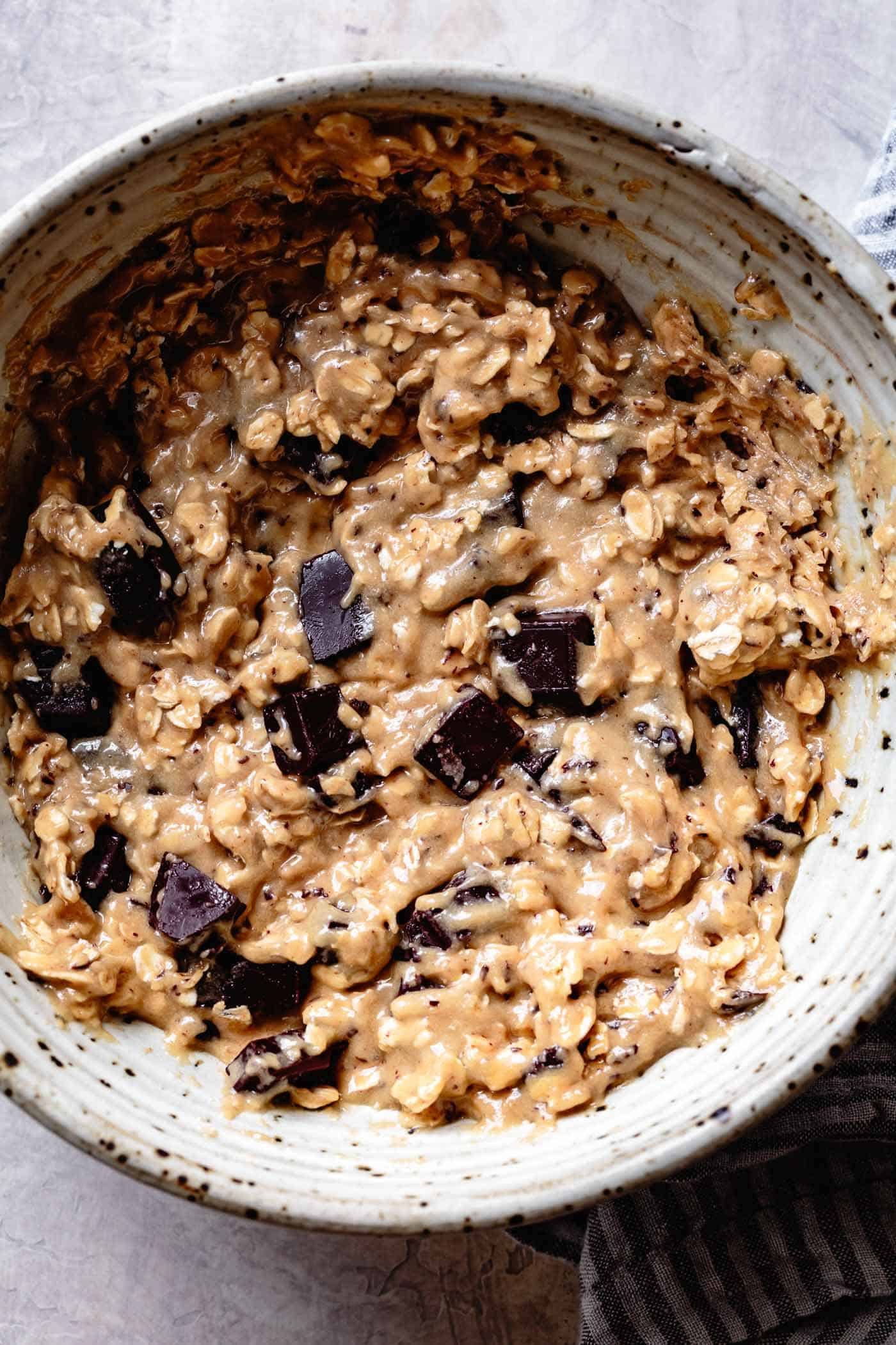 Close up of batter for healthy vegan oatmeal cookies