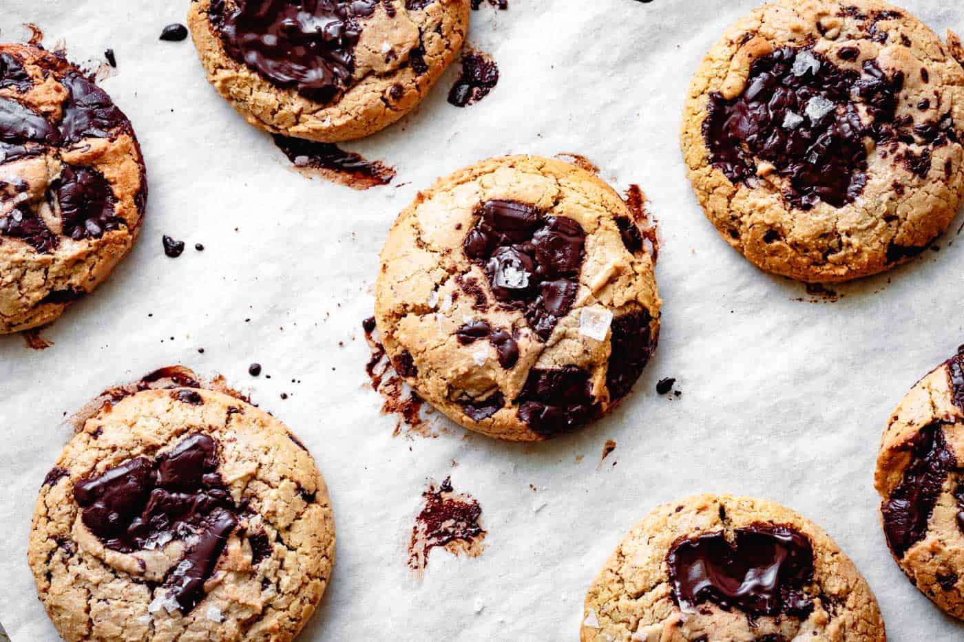 gluten-free vegan chocolate chip cookies on a baking sheet