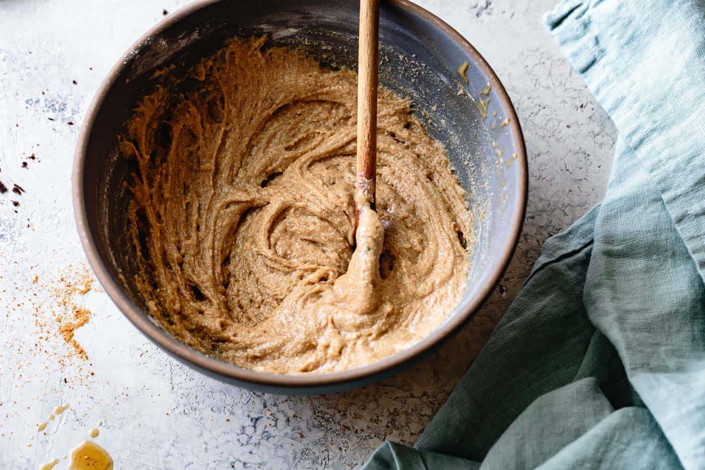stirring the dough for grain-free chocolate chip cookie recipe