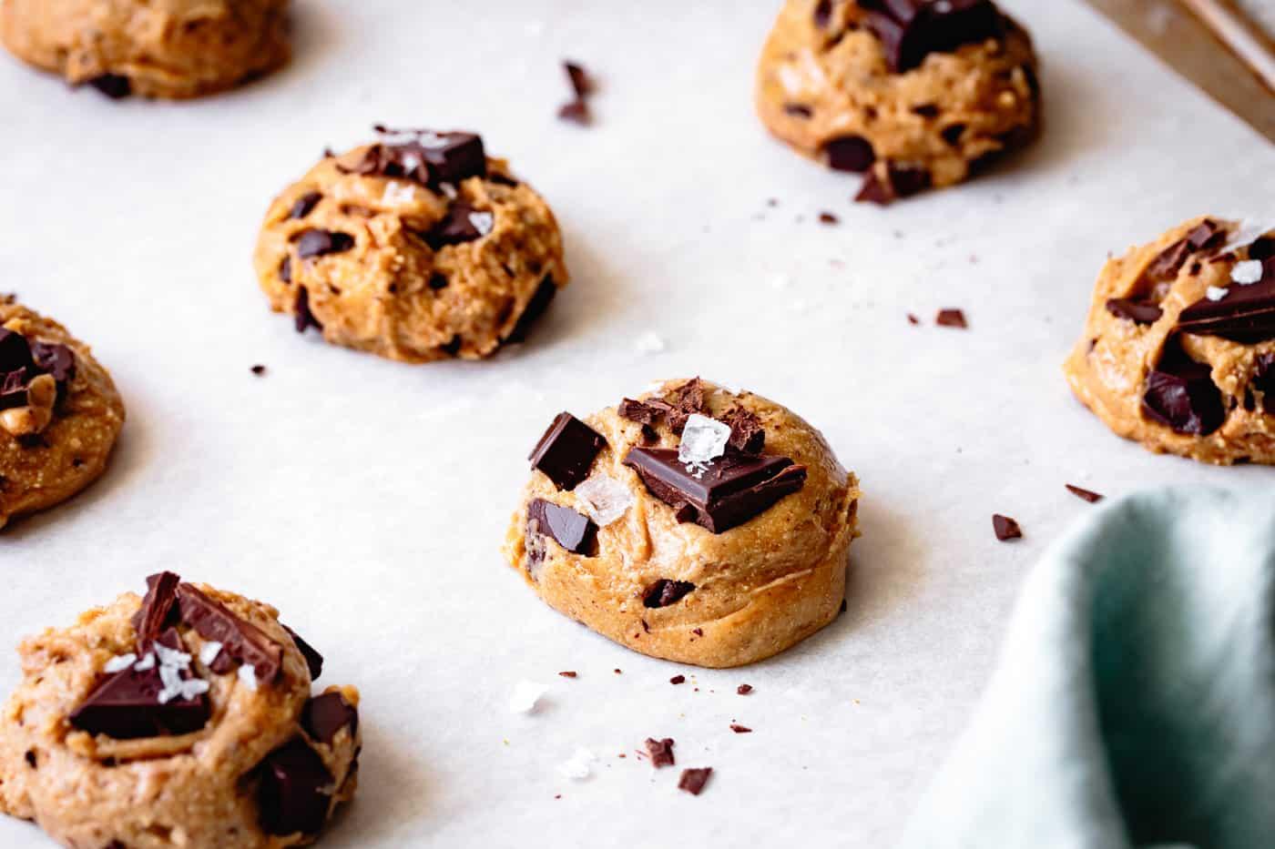 paleo gluten-free vegan chocolate chip cookies, ready to bake