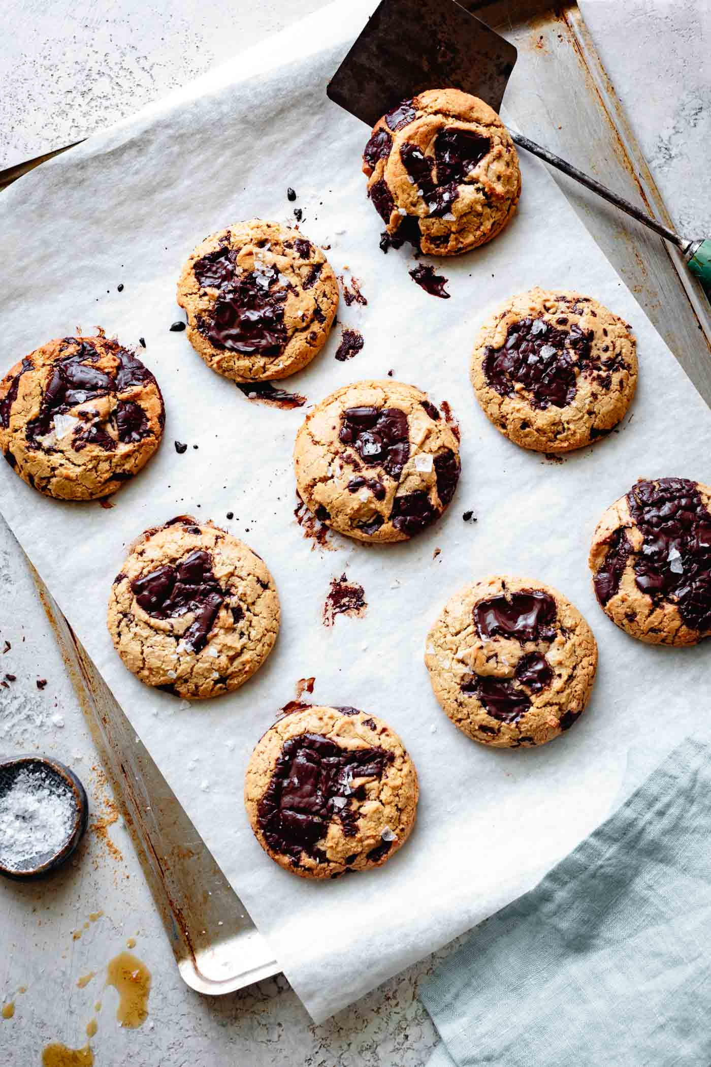 thick and chewy vegan paleo chocolate chip cookies, fresh out of the oven