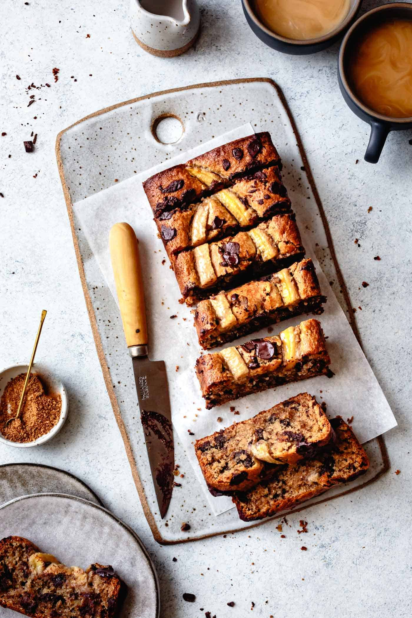 Healthy banana bread with almond flour, sliced, with tea