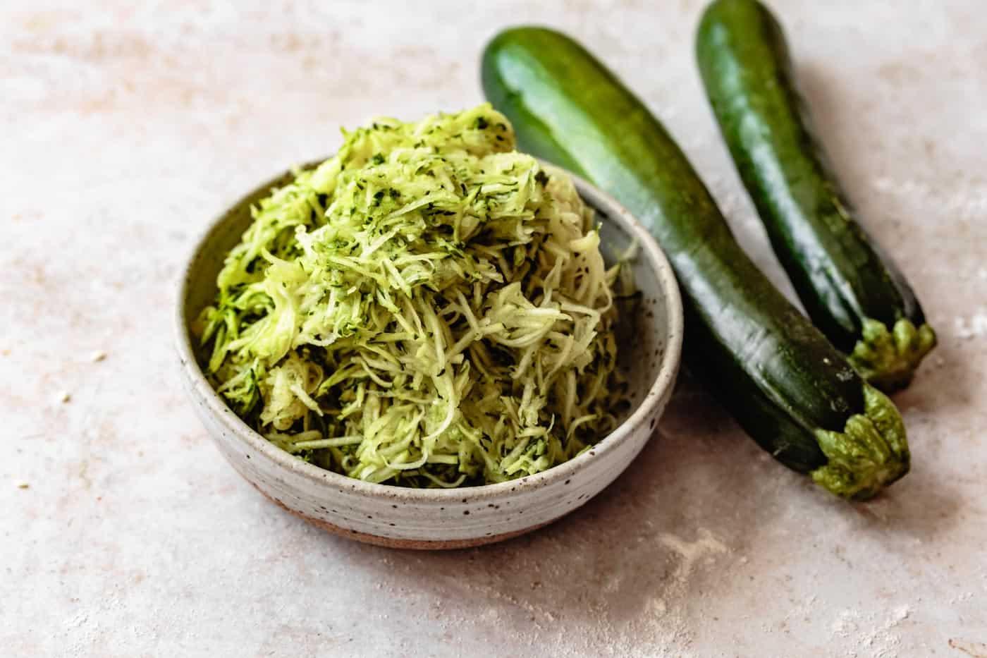grated zucchini for vegan paleo zucchini bread