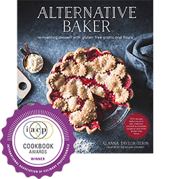 the front cover of Alternative Baker, a cookbook by Alanna Taylor-Tobin, winner of the IACP Cookbook Awards
