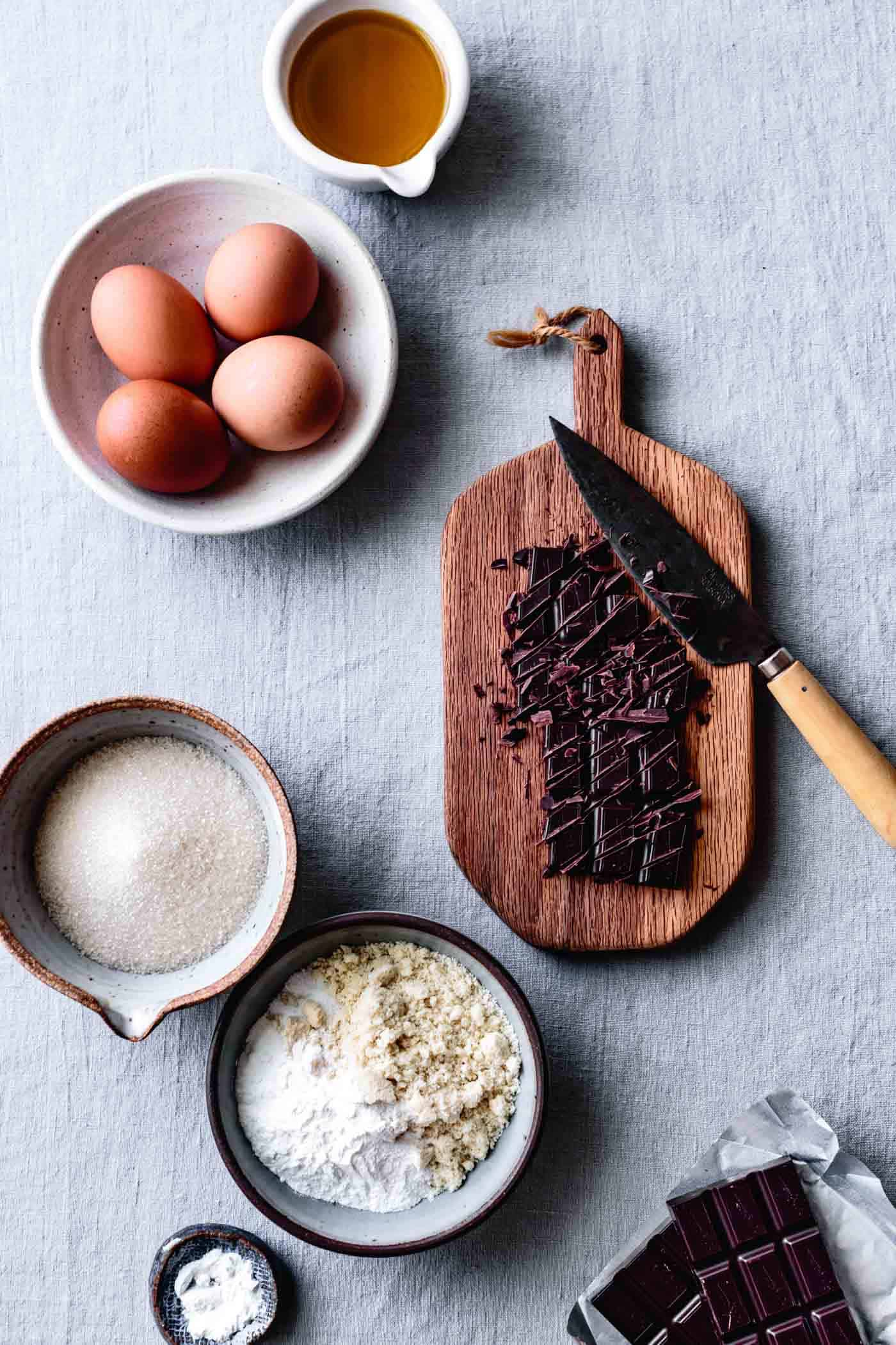ingredients for gluten-free chocolate and almond cake recipe