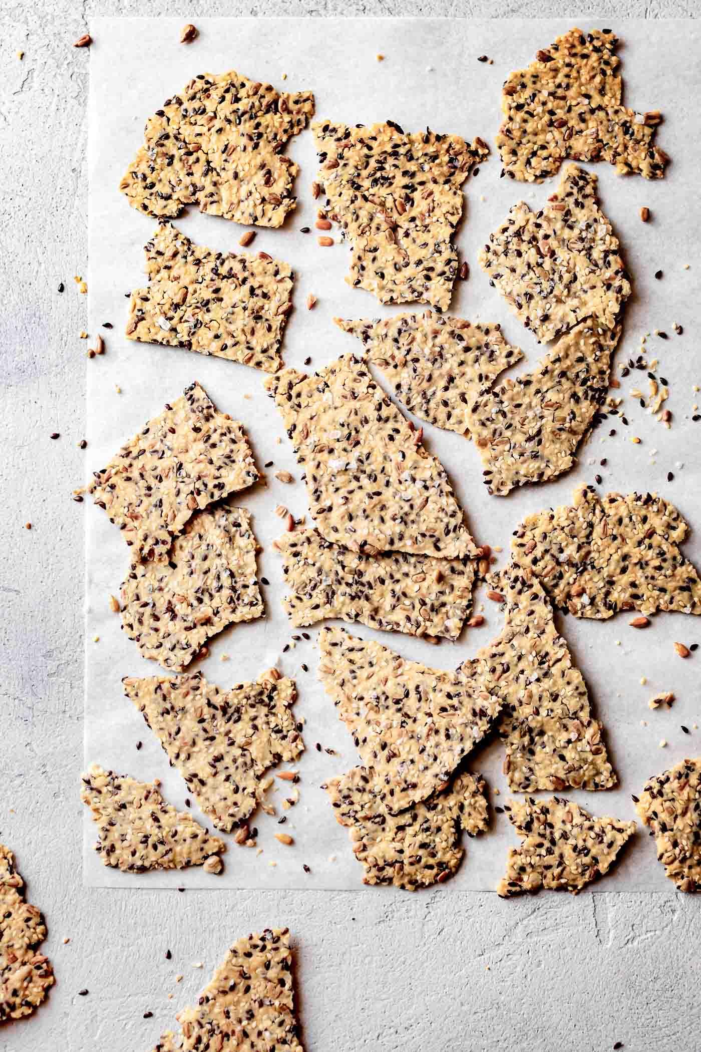 cassava flour crackers on a board
