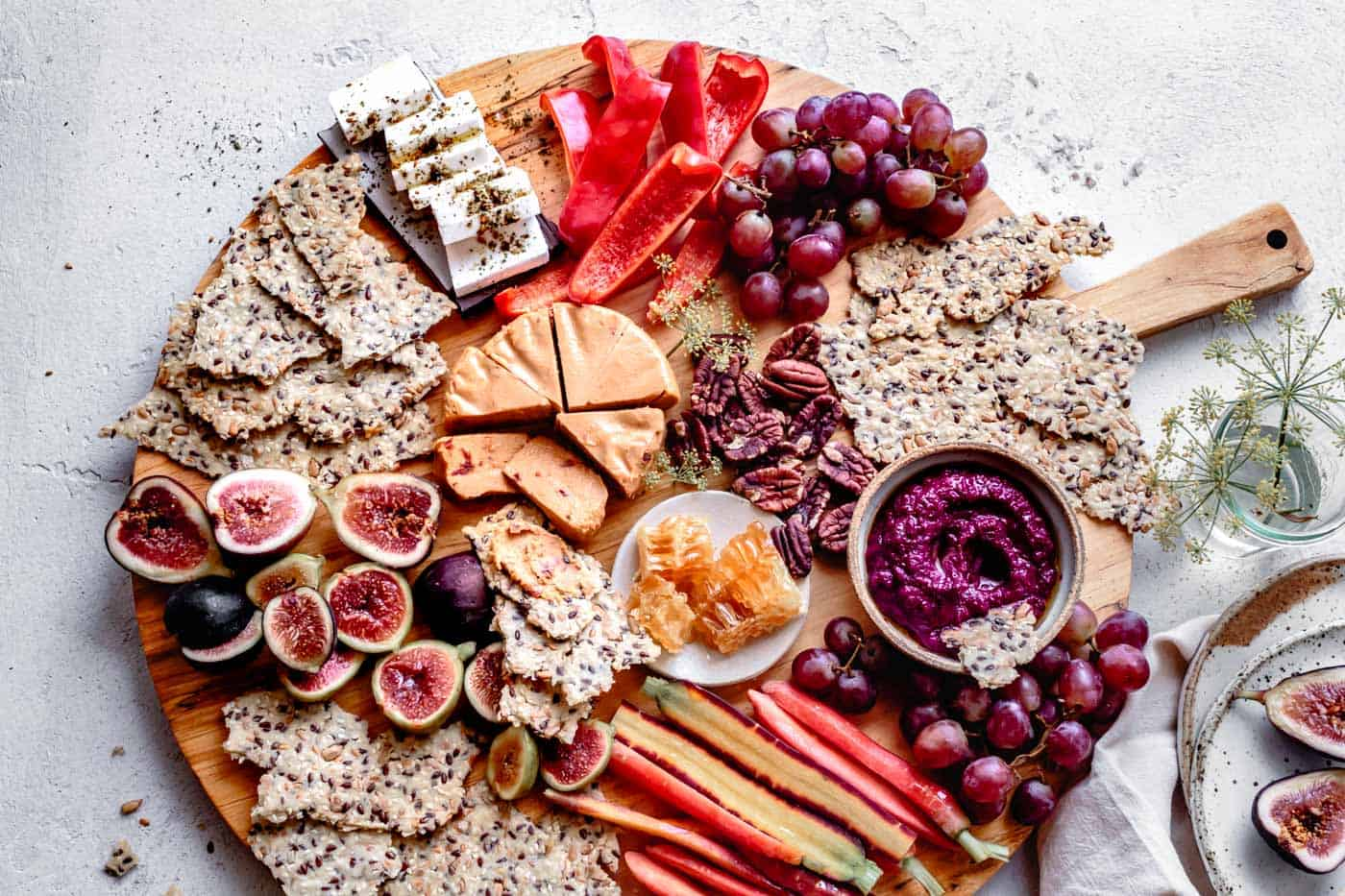 paleo cheeseboard with gluten-free crackers