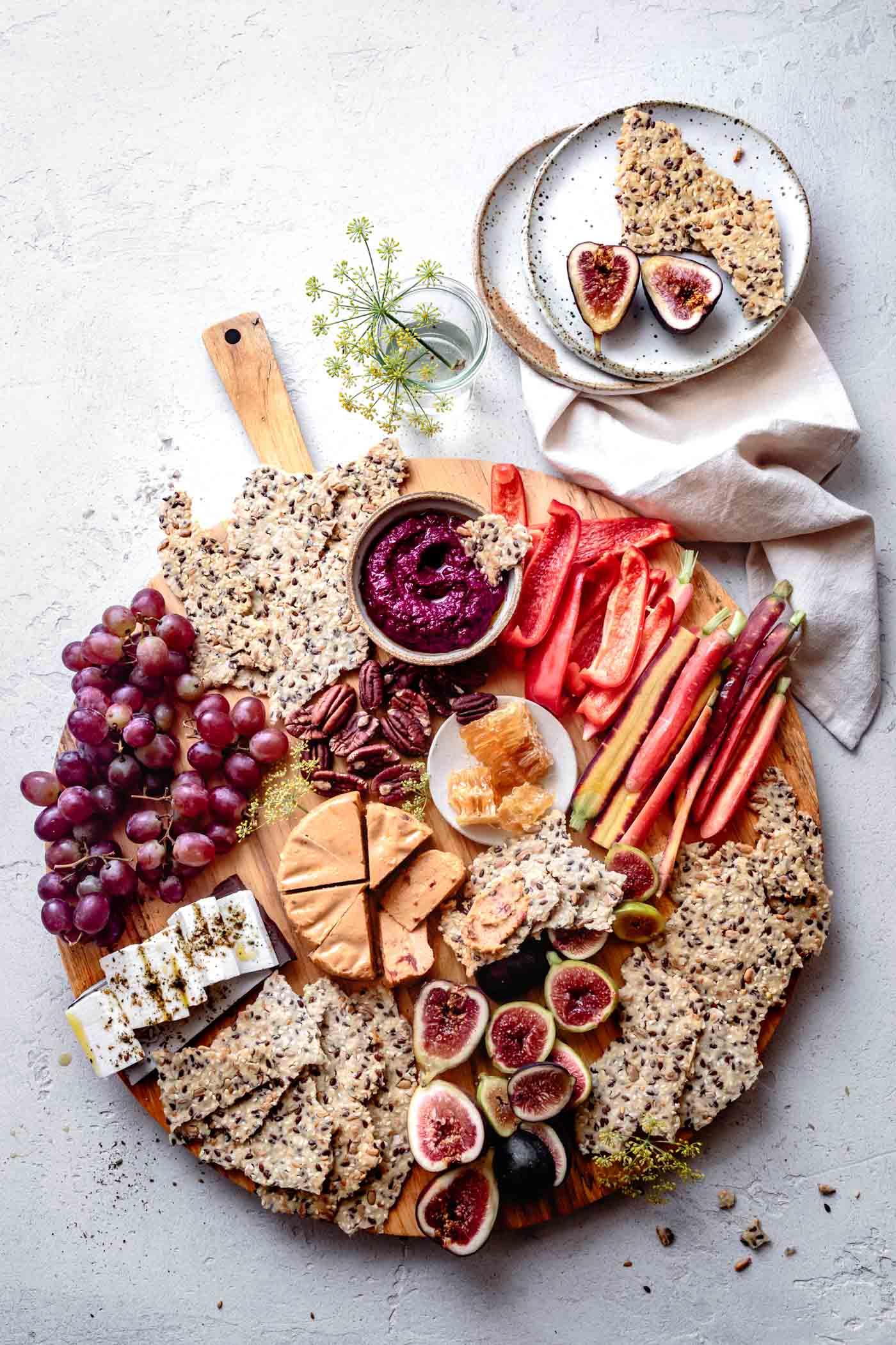 vegan cheeseboard with cassava crackers