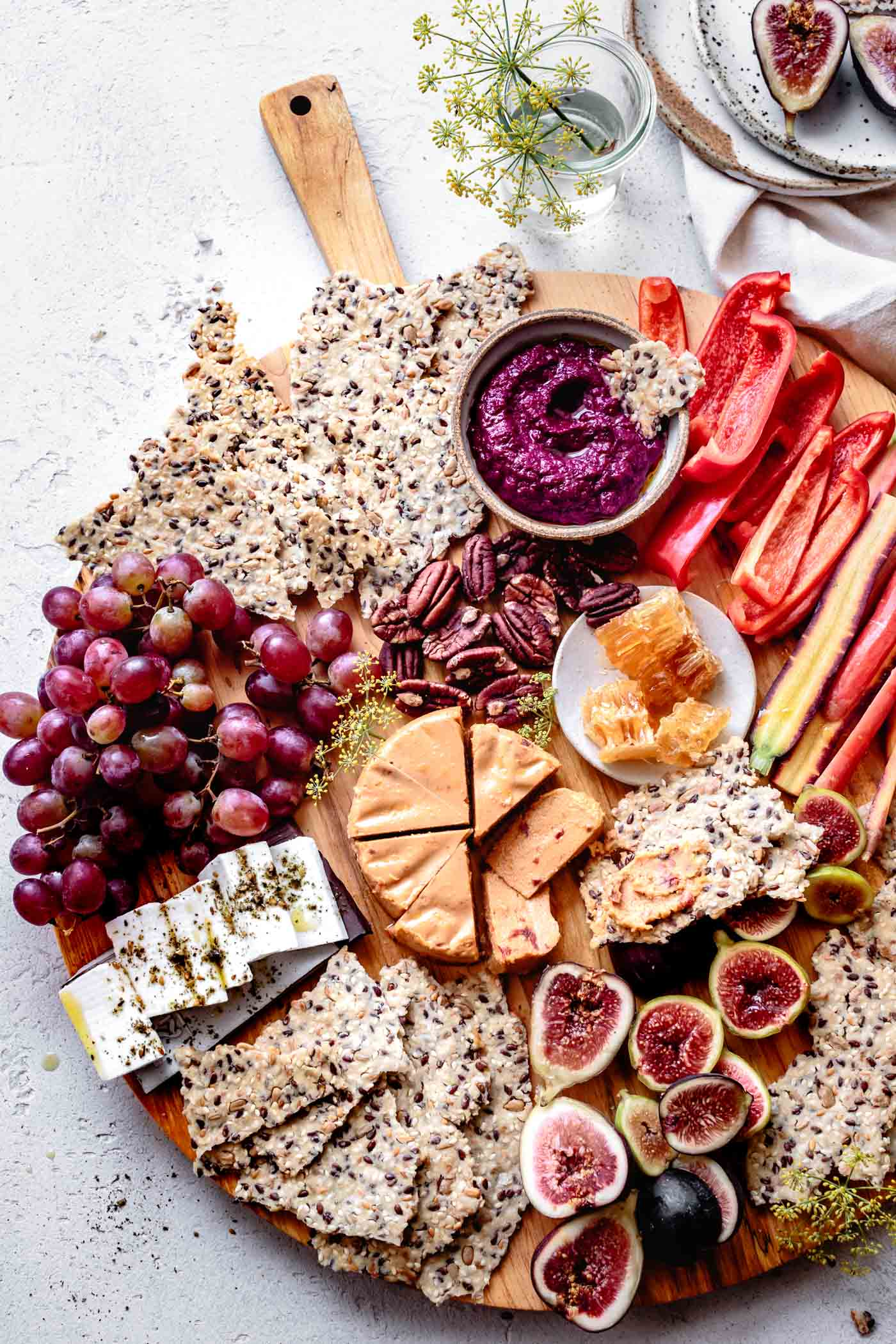 grain-free crackers recipe and a festive cheeseboard