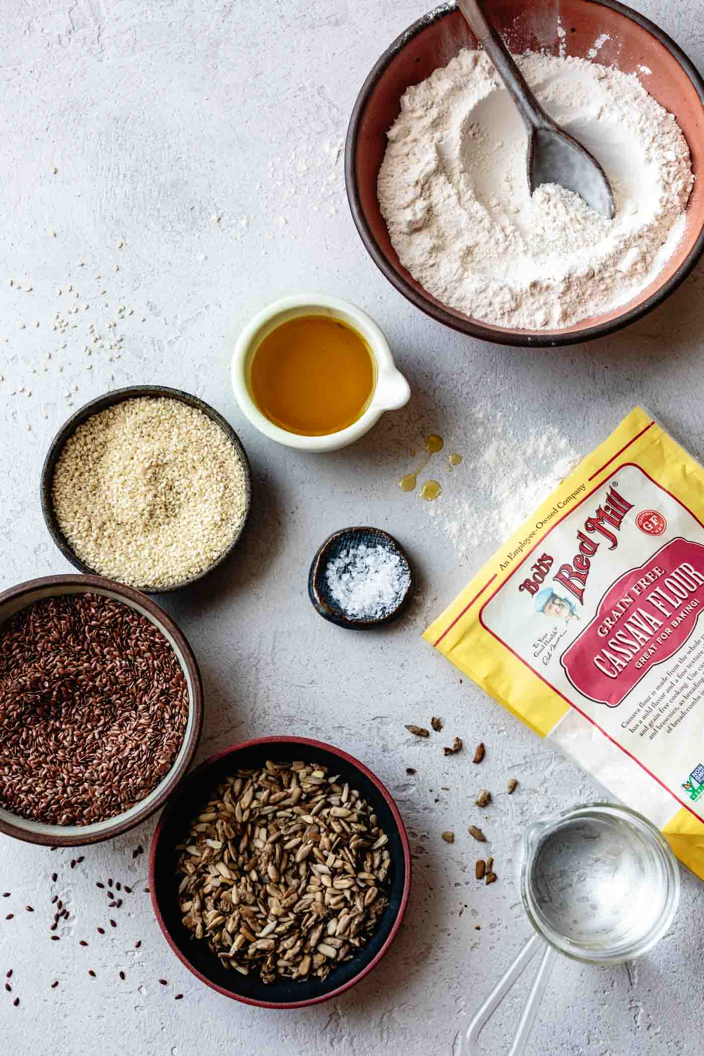 ingredients for gluten-free crackers recipe with cassava flour