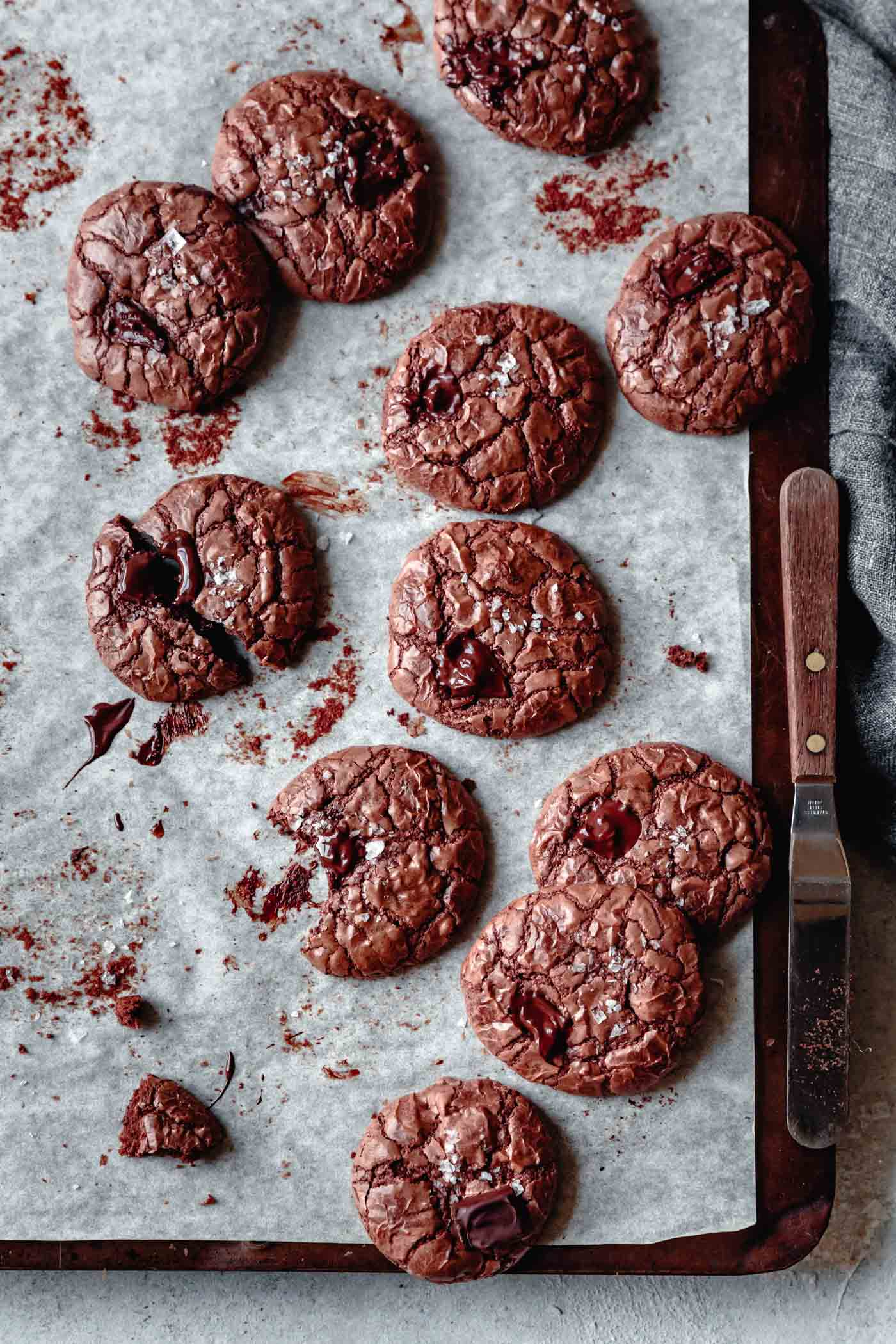 baked gluten-free cookies on a cookie sheet