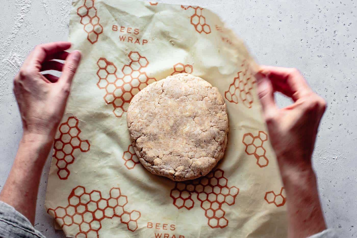 wrapping cassava flour pie crust dough to chill
