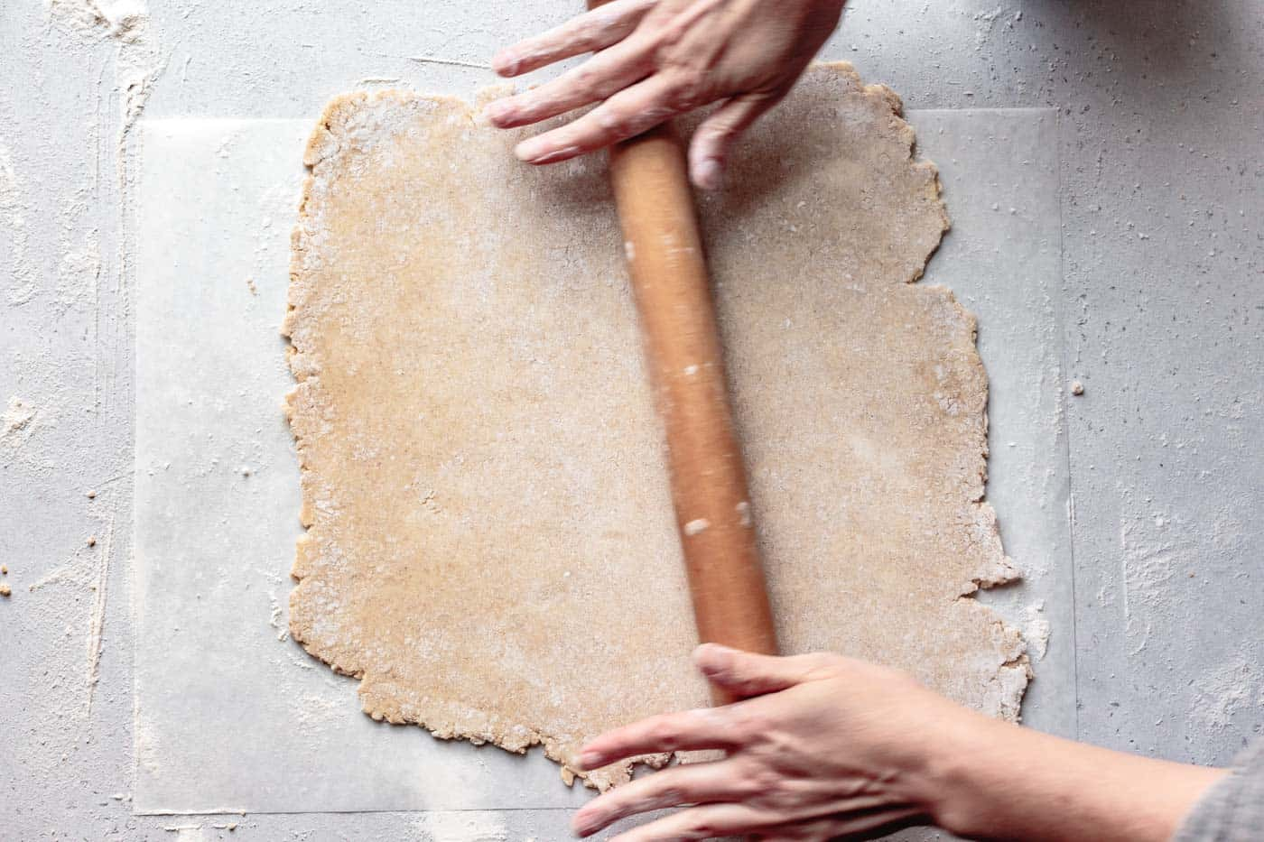 rolling out paleo pie crust