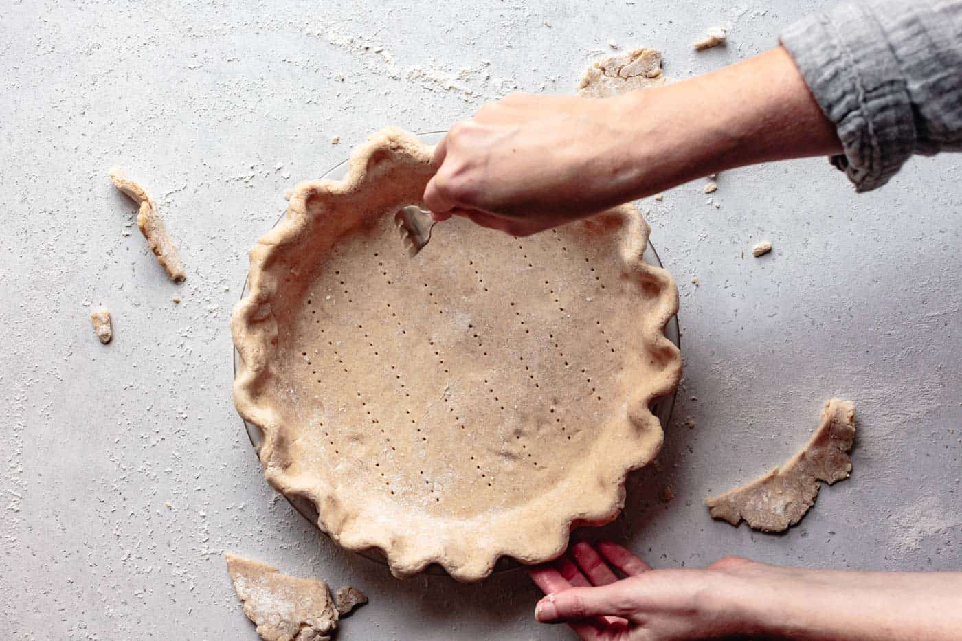 docking the pie crust with a fork