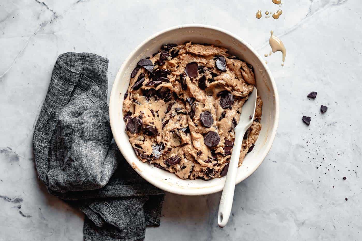 chocolate tahini cookie dough in a bowl