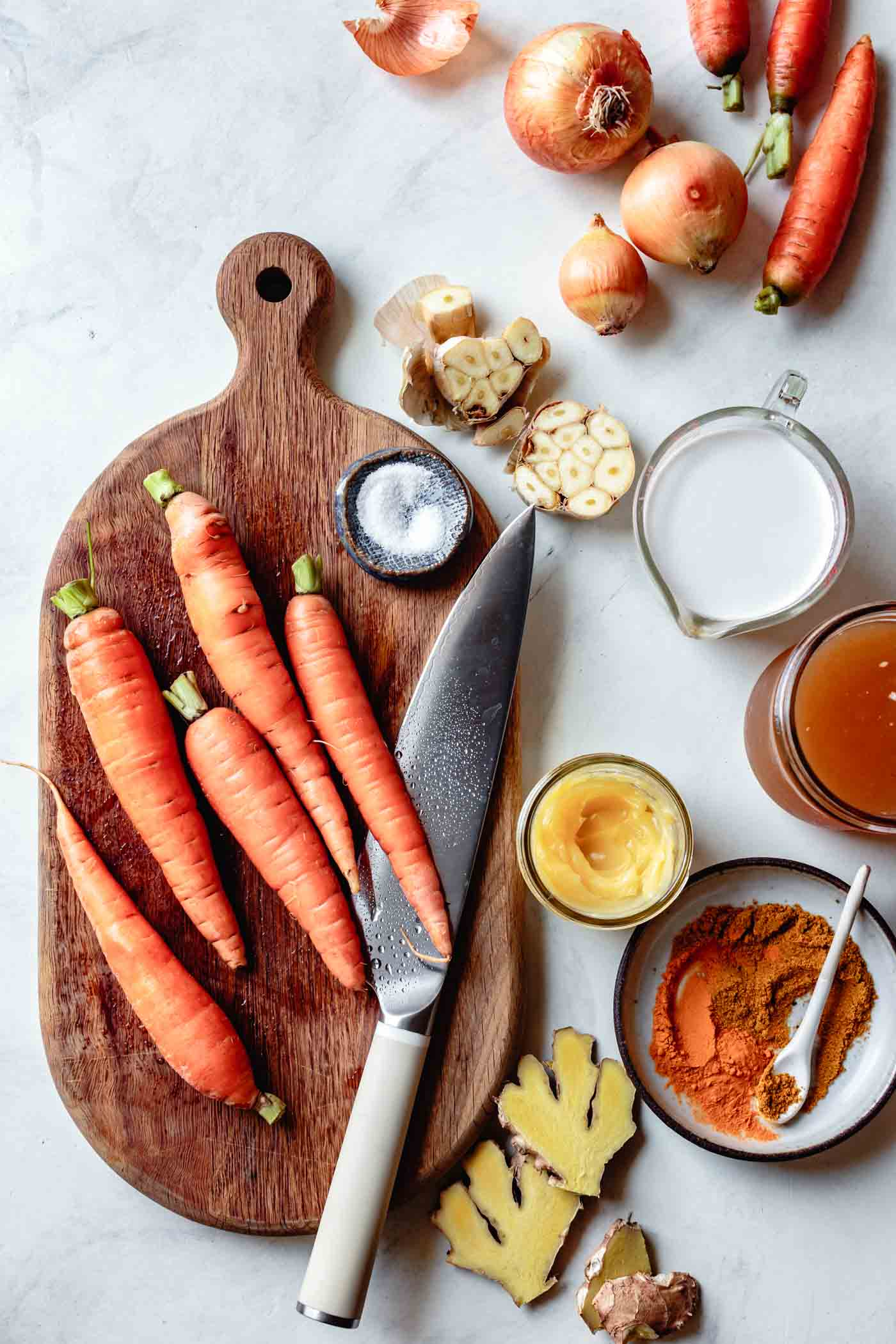 ingredients for carrot coconut curry soup recipe