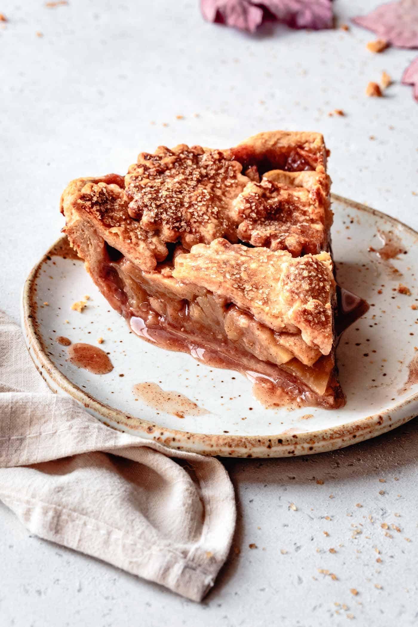 slice of paleo apple pie on a plate