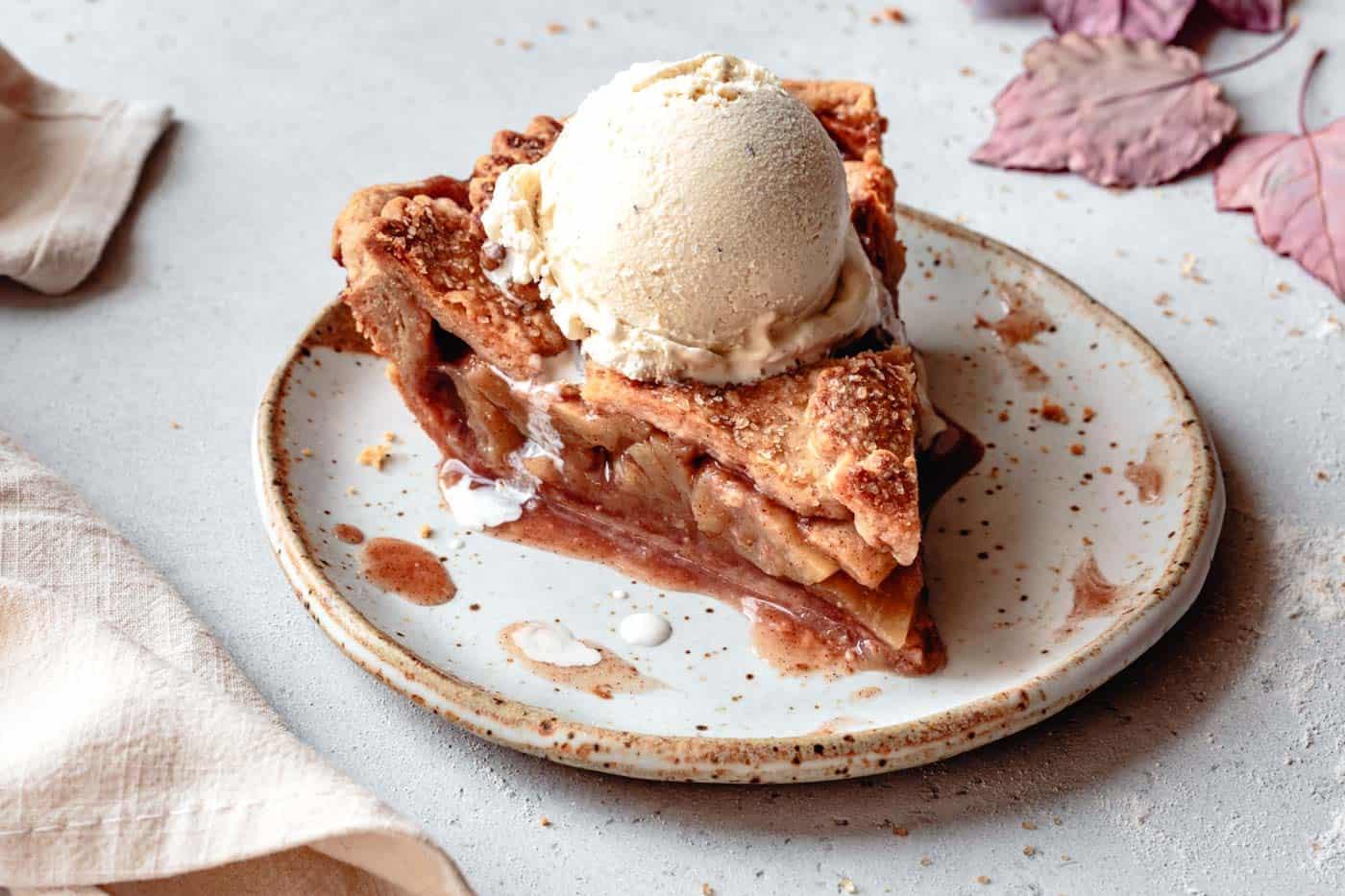 slice of paleo apple pie with ice cream