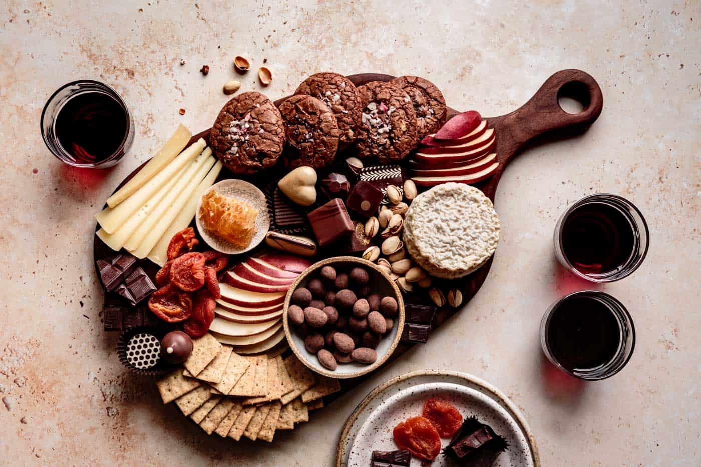 horizontal chocolate charcuterie board