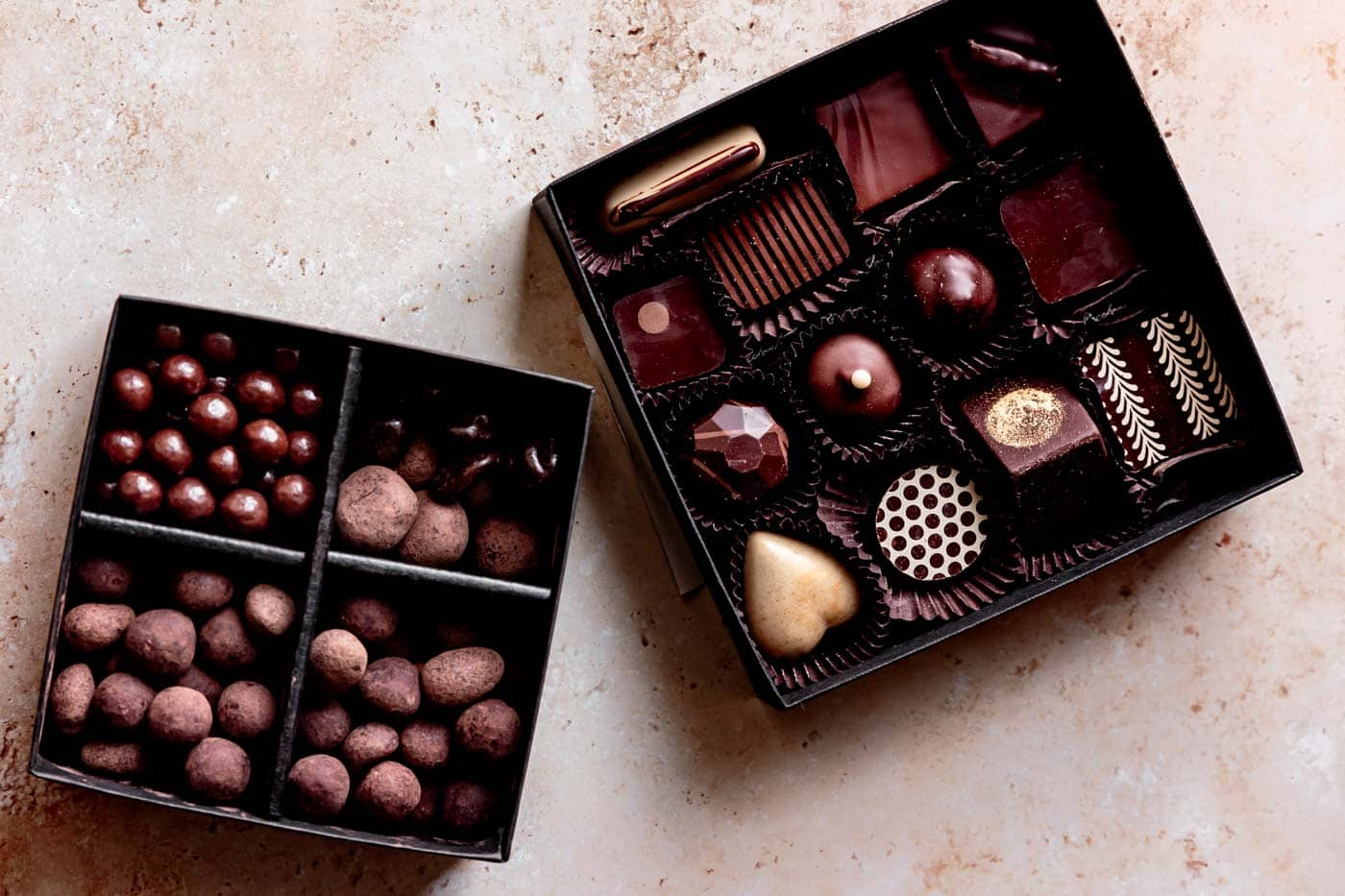 truffles and chocolates in boxes for dessert charcuterie board