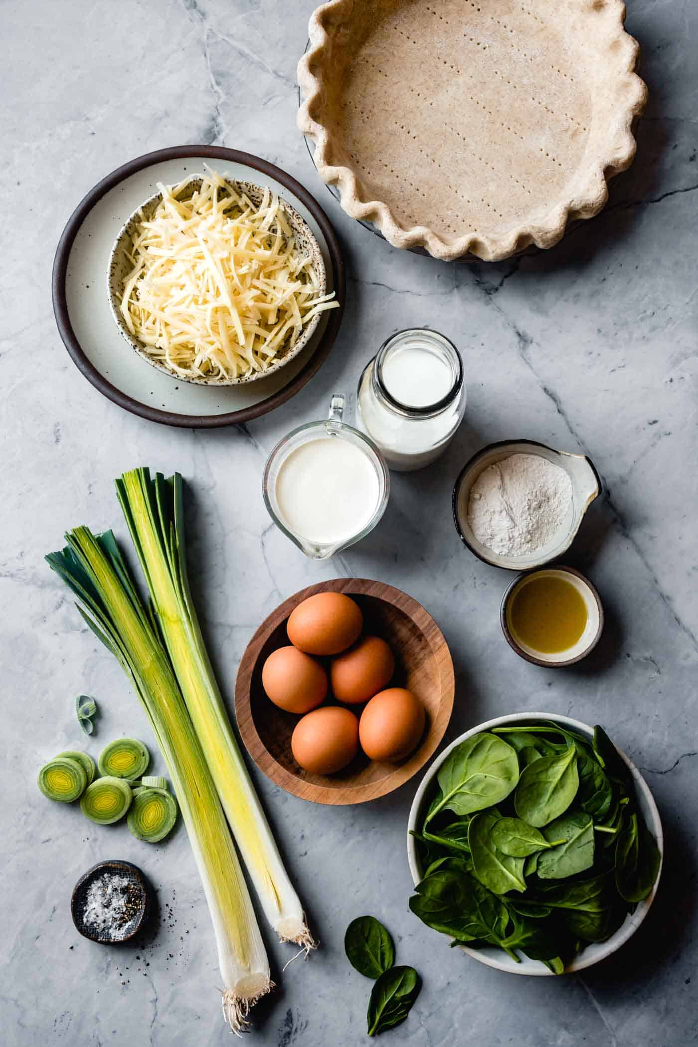 ingredients for gluten-free spinach quiche recipe