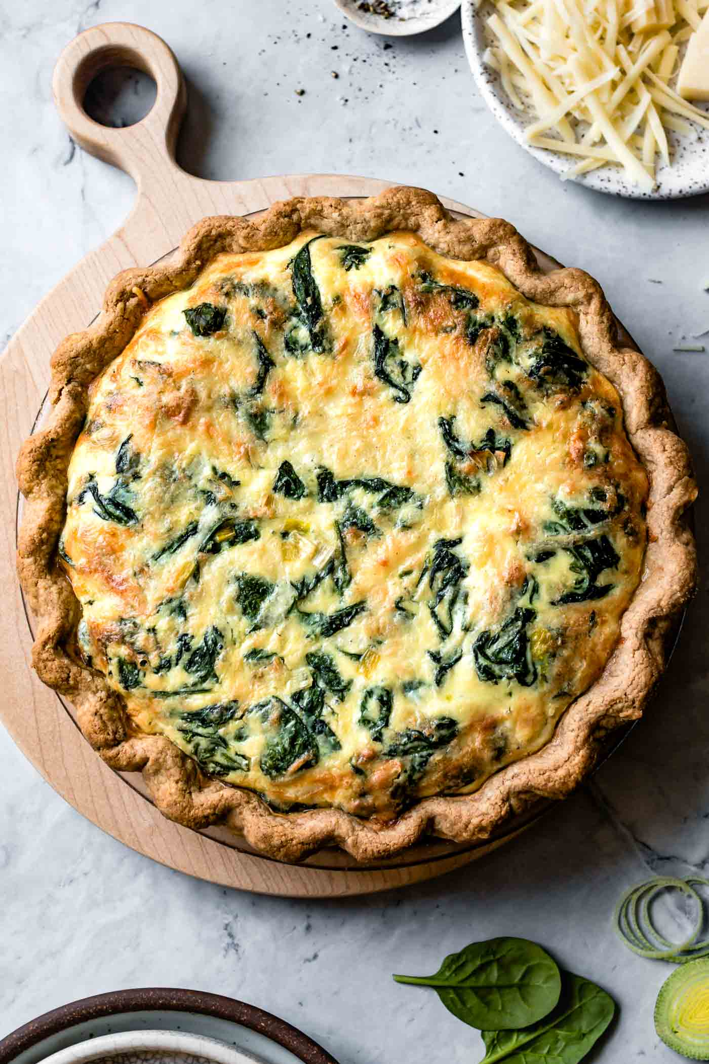 whole gluten-free quiche, freshly baked overhead