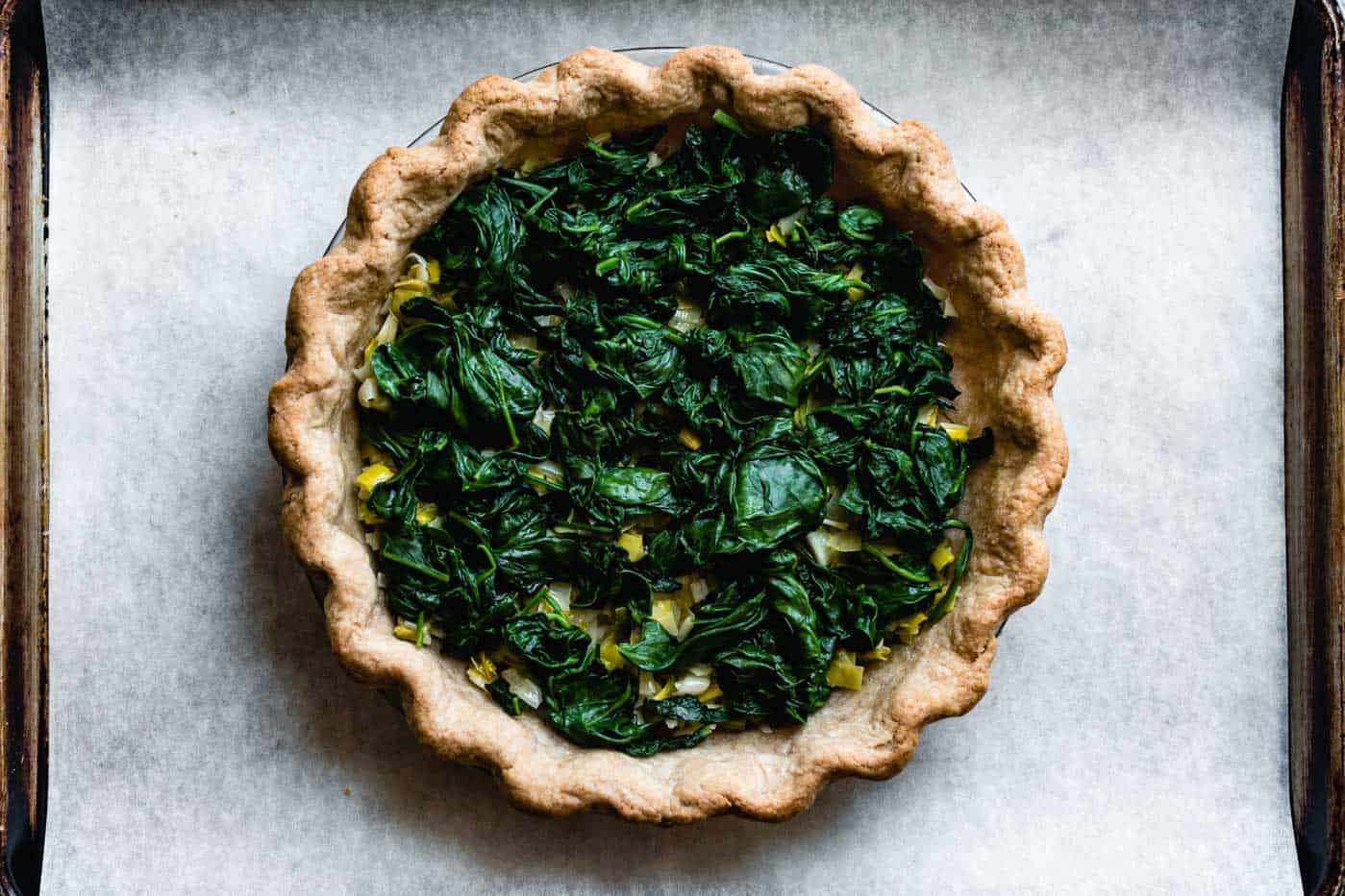 spinach added to crust for fresh spinach quiche recipe