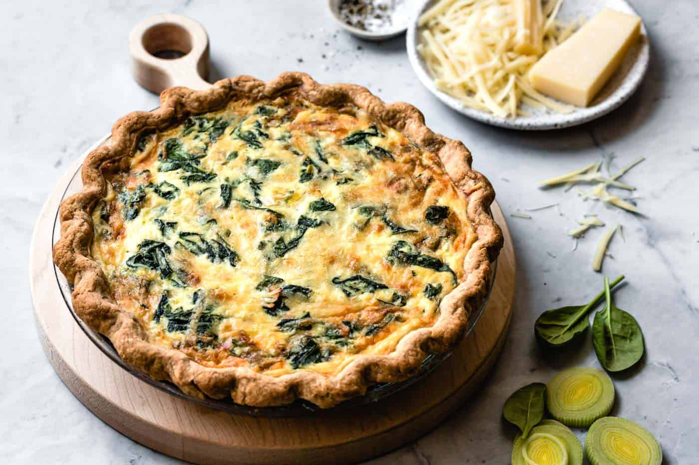 baked spinach quiche, 3/4 angle